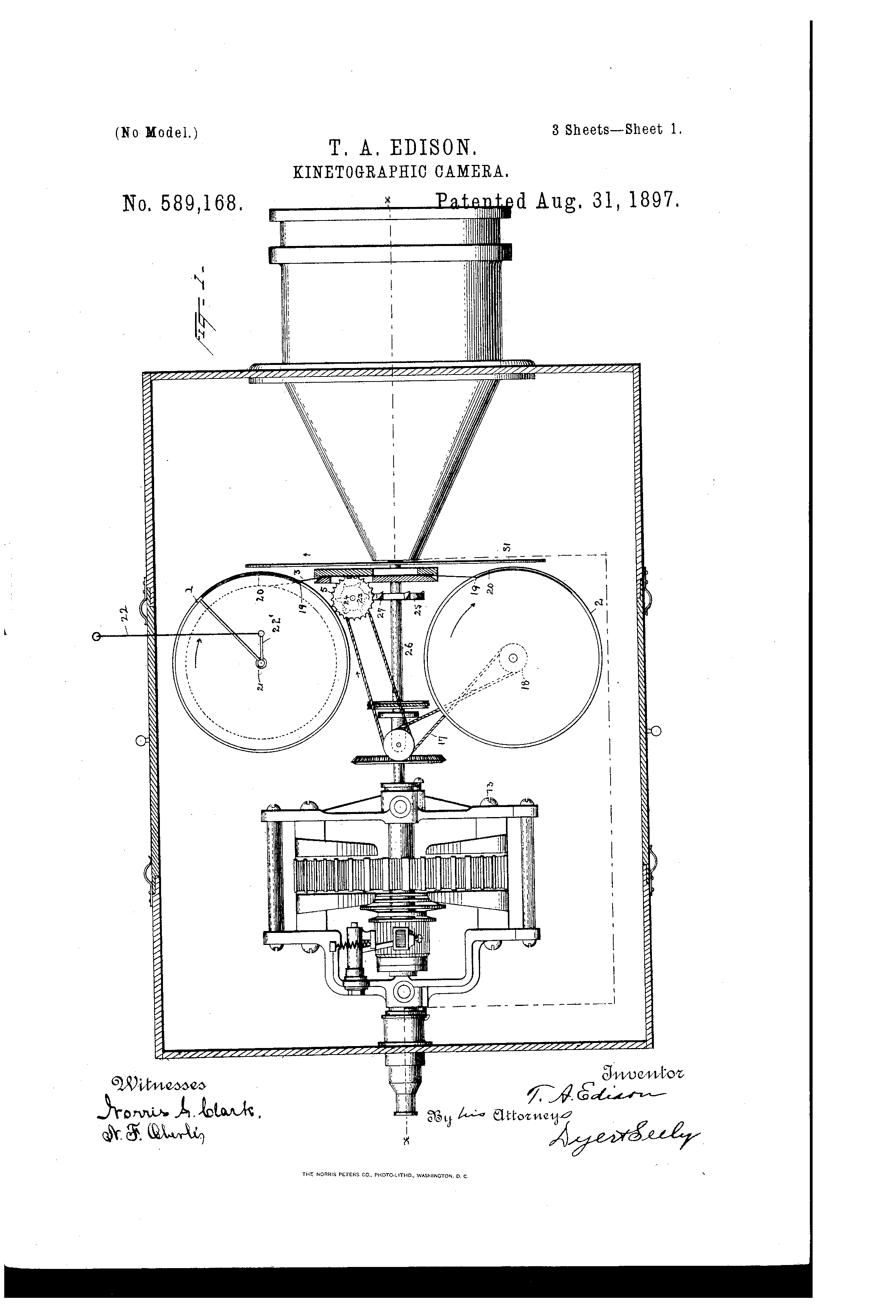 Kinetografo de Edison gruas en Google Patents
