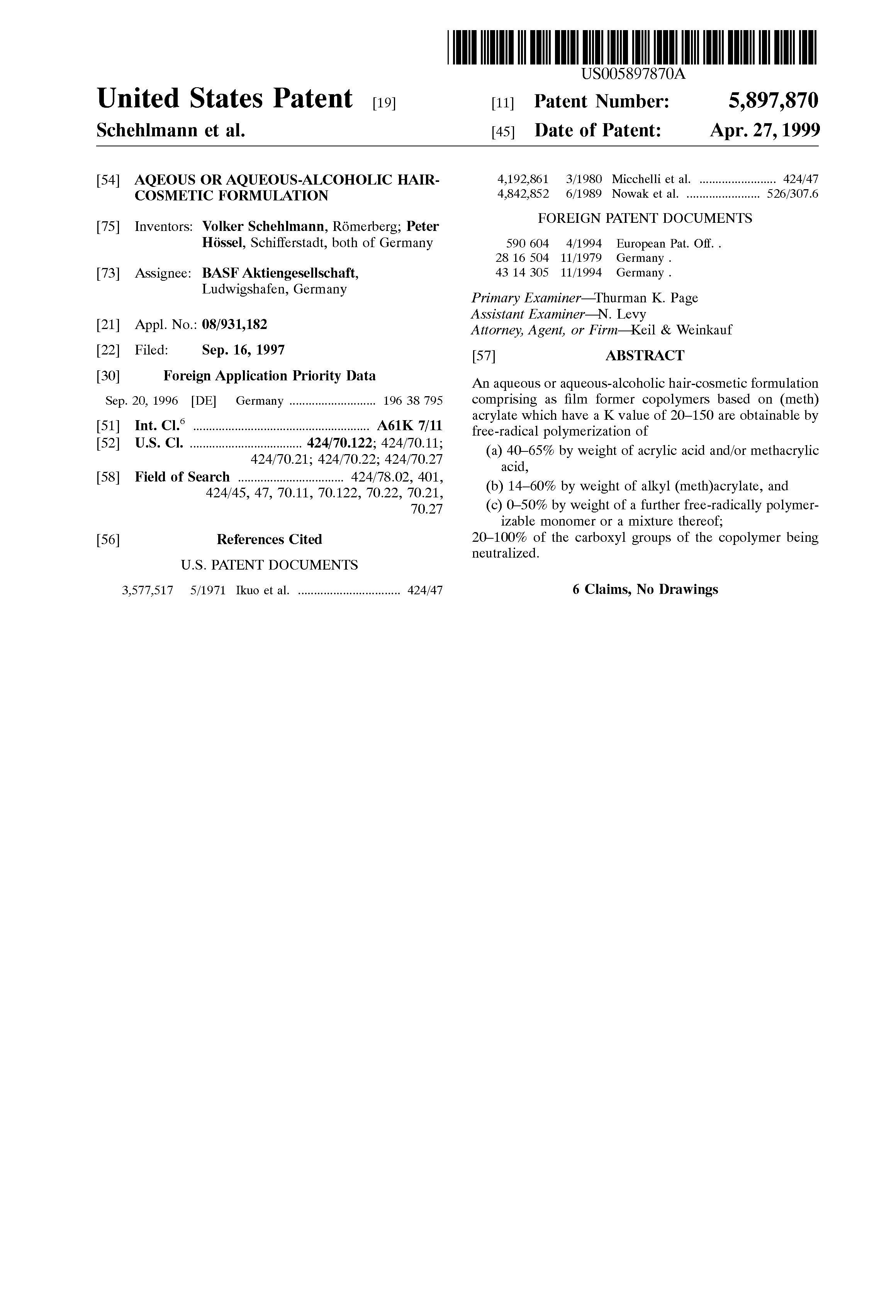 Patent US5897870 - Aqeous or aqueous-alcoholic hair-cosmetic