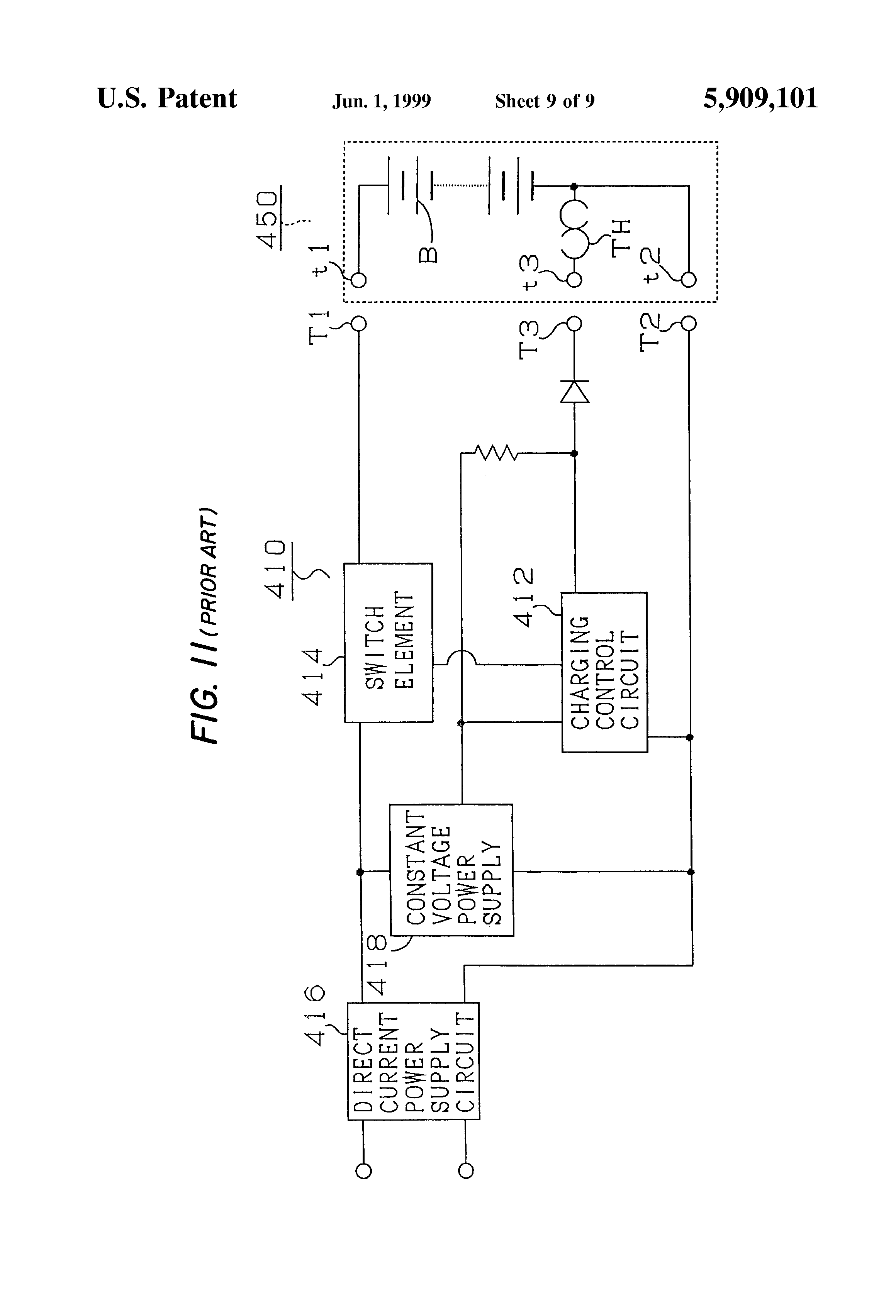 patent us5909101 battery charger detecting charge of batteries using a thermostat and