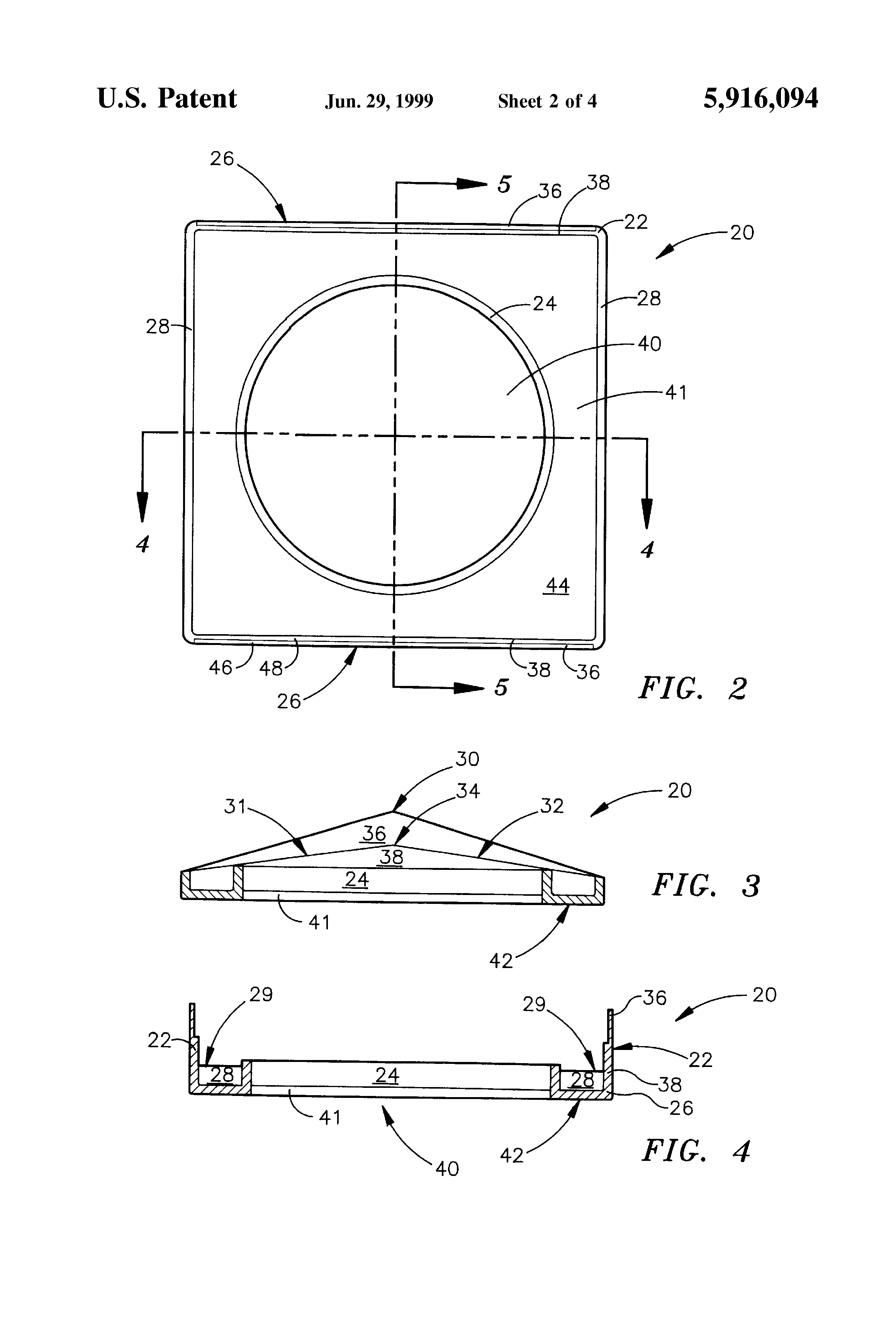 Patent Us5916094 Cathedral Ceiling Fixture Mounting