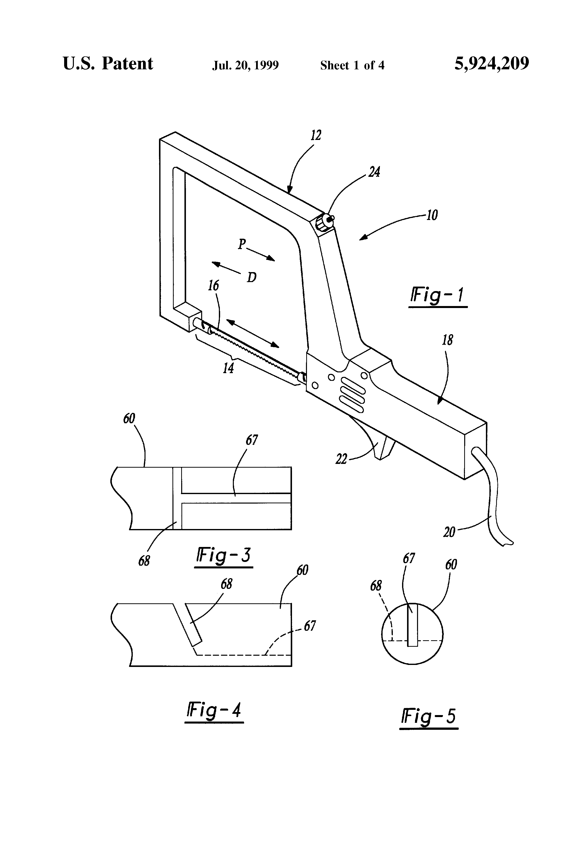 Patent US5924209 - Powered coping saw - Google Patents