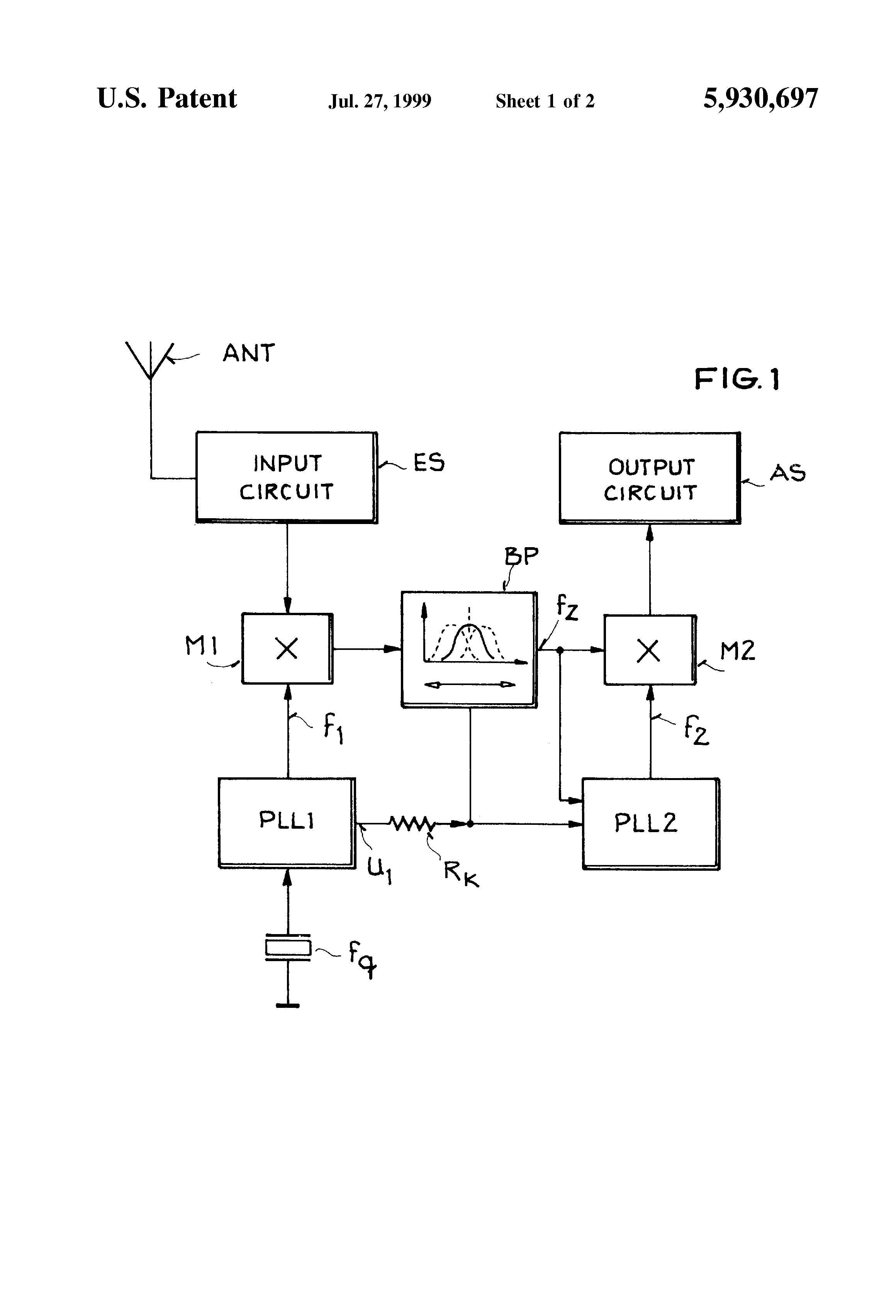 براءة الاختراع US5930697 - Heterodyne receiver with synchronous
