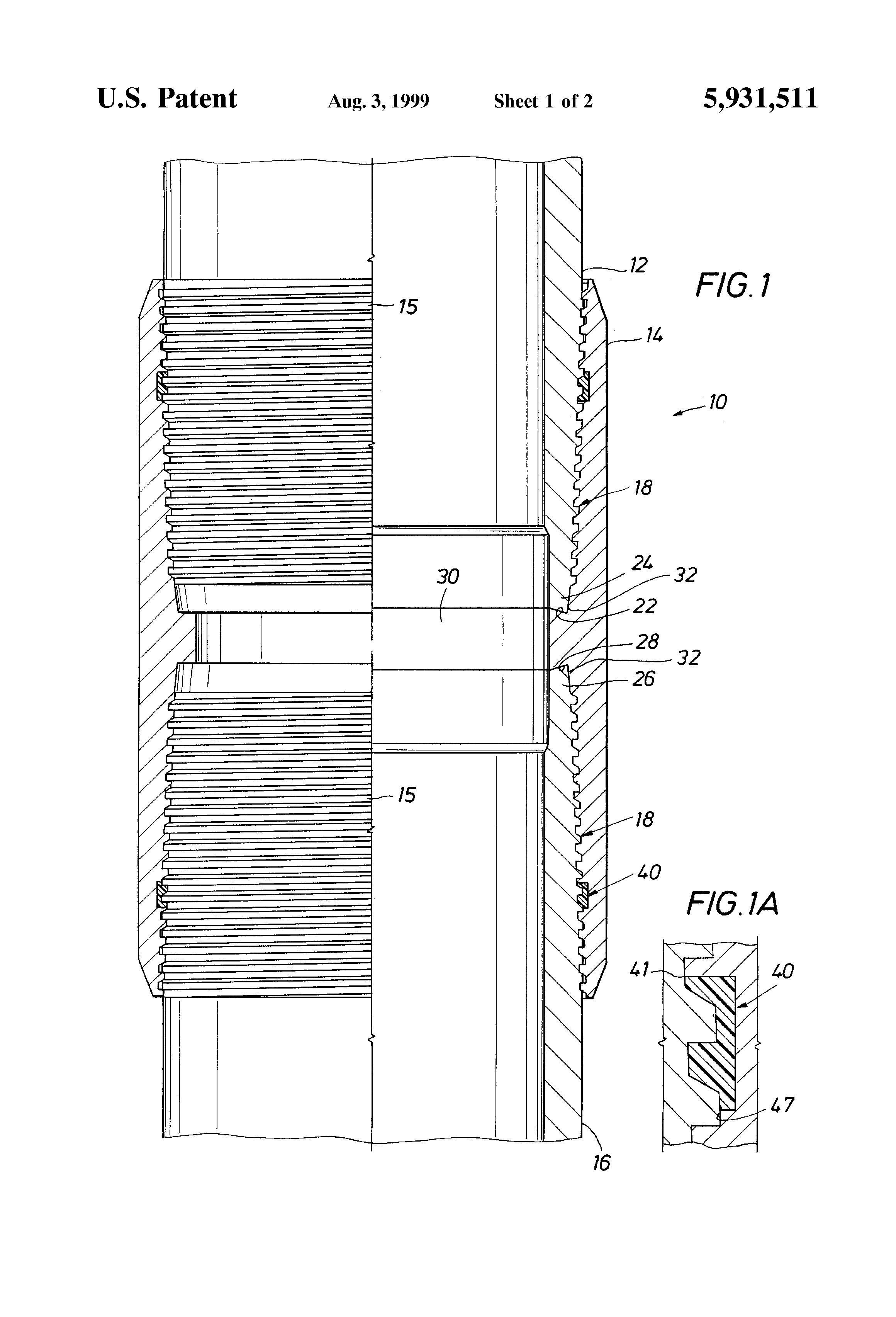 Patent US5931511 - Threaded connection for enhanced fatigue
