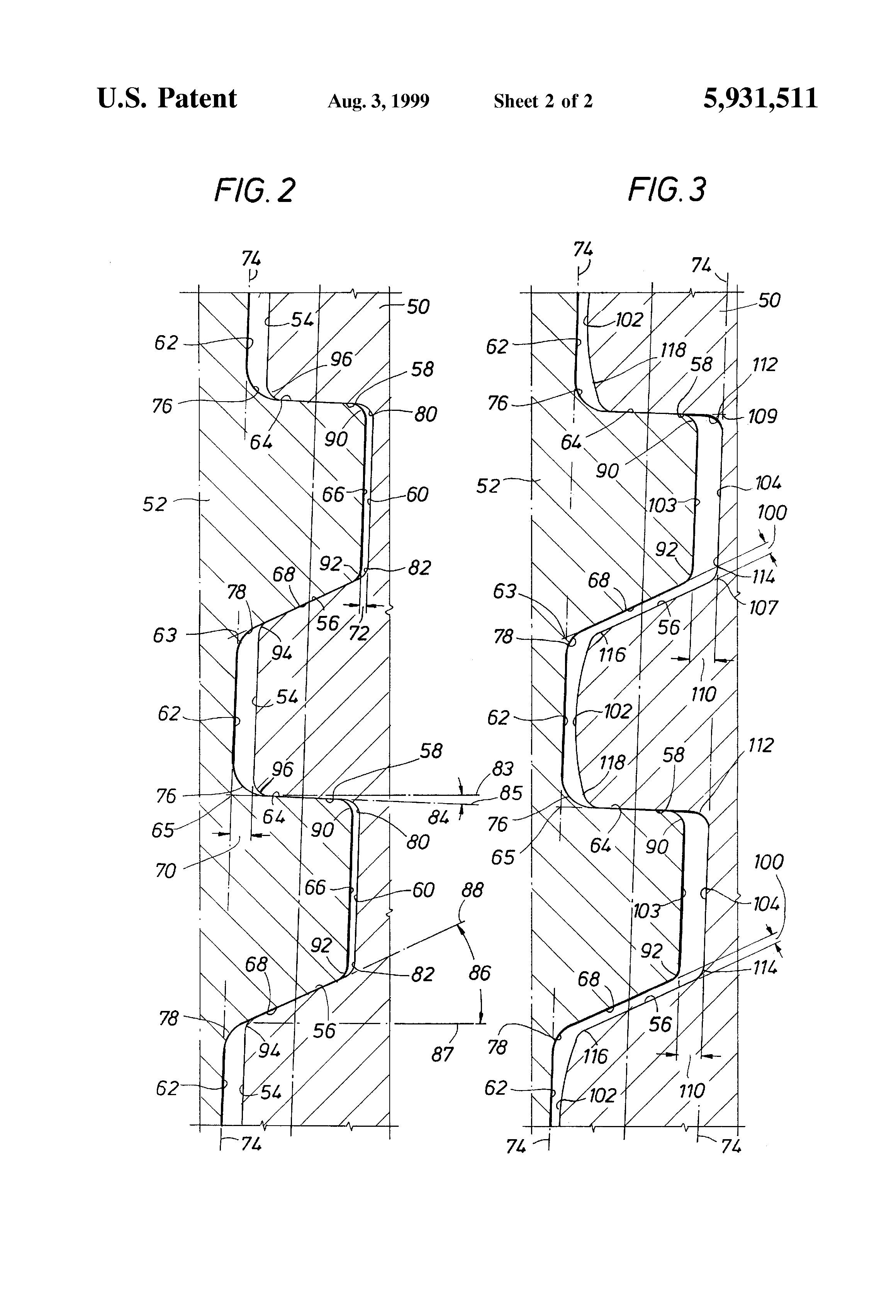 Patent US5931511 - Threaded connection for enhanced