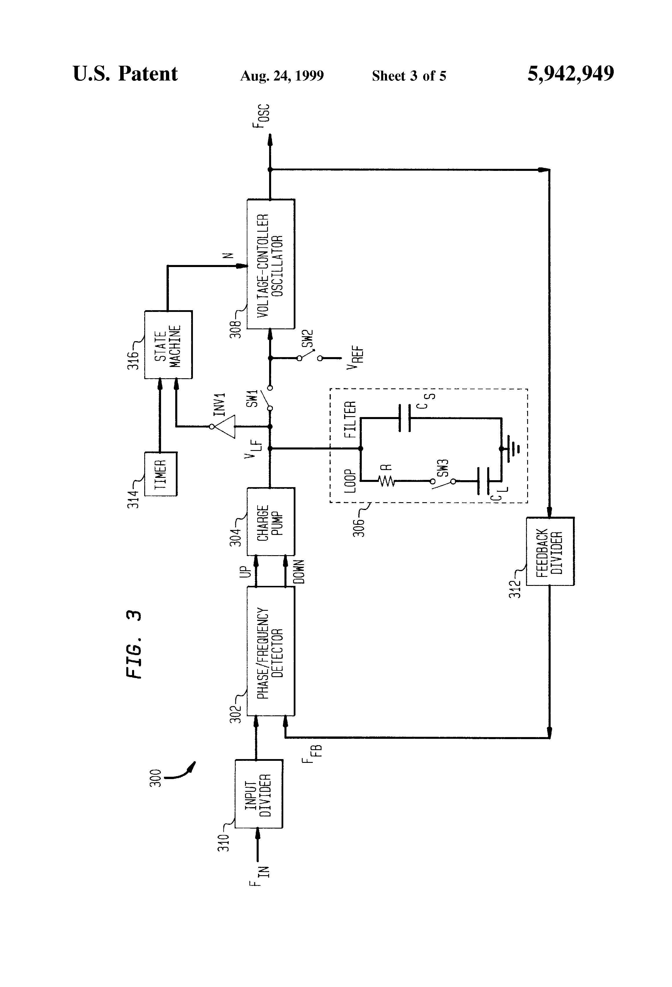 Patent Us5942949 Self Calibrating Phase Lock Loop With Auto Trim Locked Pll Operating Principle Block Diagram Showing Drawing