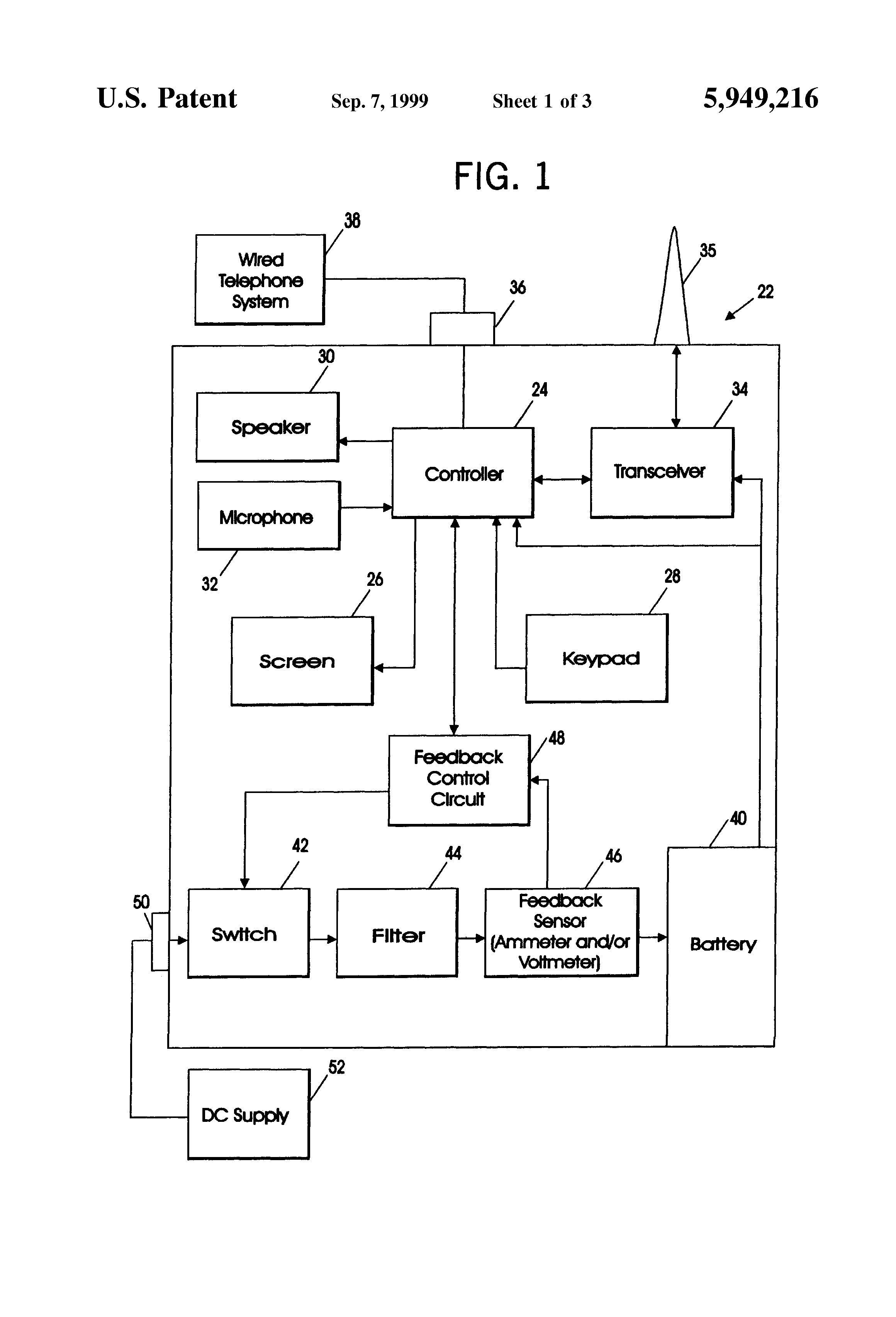 Patent Us5949216 Dual Mode Battery Chargers For Portable Variable Resistor Circuit Diagram Moreover Voltmeter Ammeter Schematic Drawing