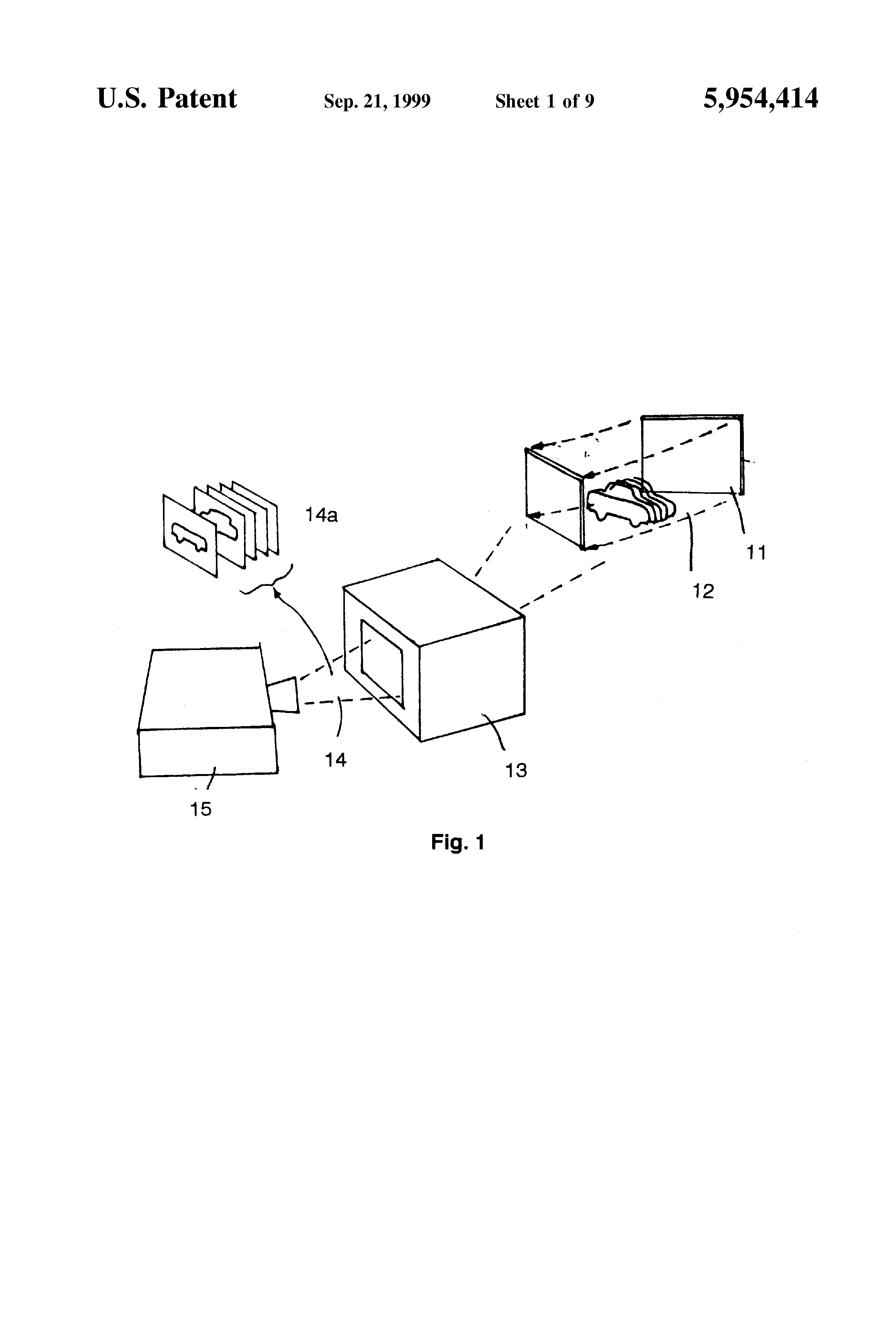 Patent US5954414 - Moving screen projection technique for