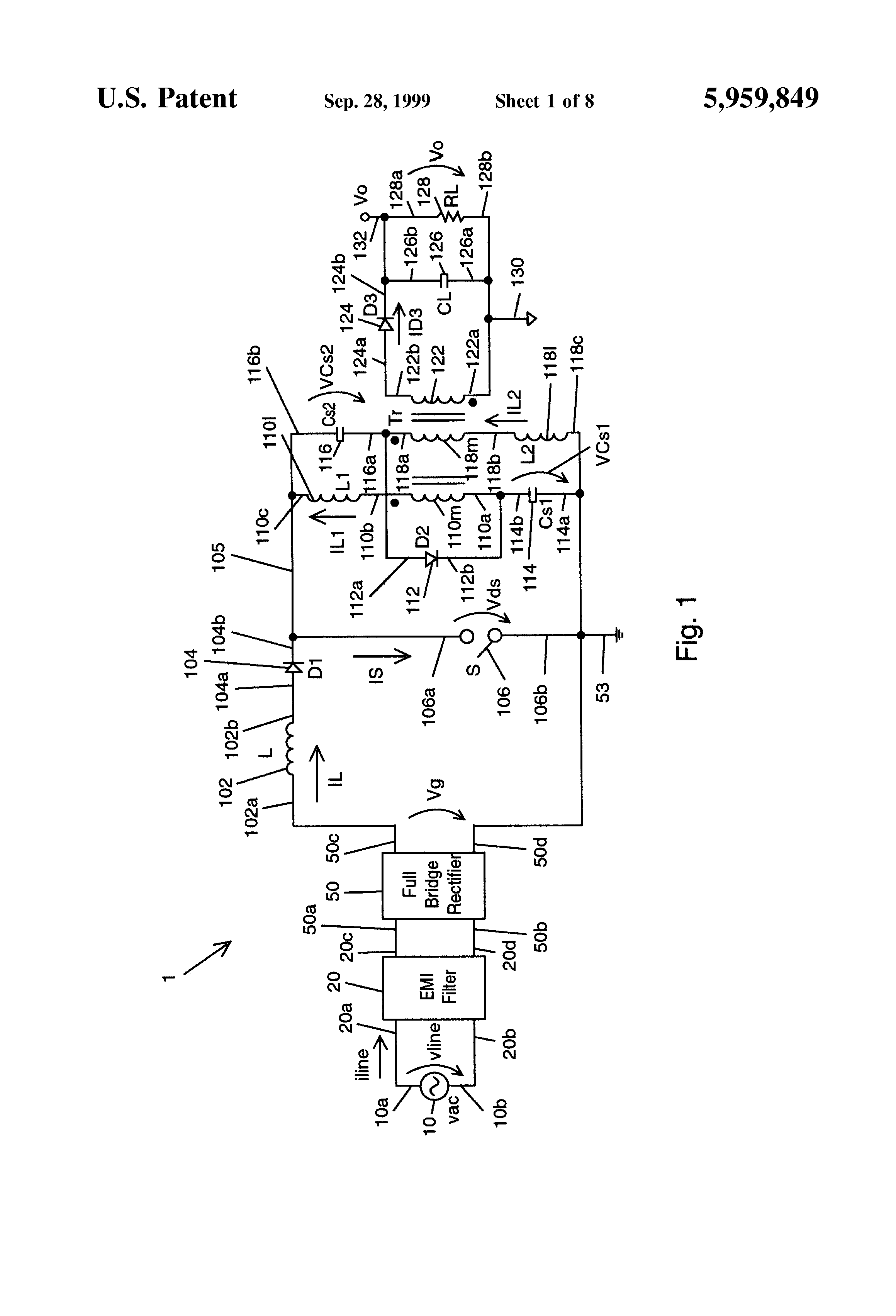 Patent Us5959849 Single Switch Ac Dc Converter With Power Factor Igbt Equivalent Circuit And Open Wave Form Basiccircuit Drawing