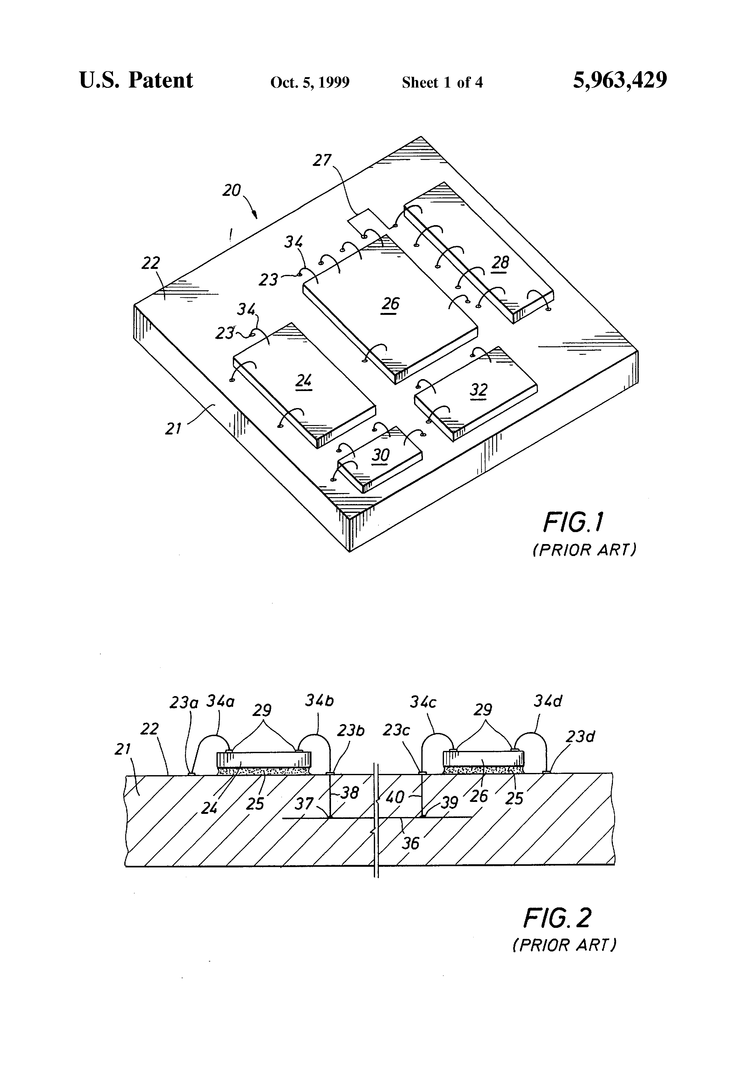 Patent Us5963429 Printed Circuit Substrate With Cavities For Large Image 6 Layer Multilayer Pcb Board Medical Drawing
