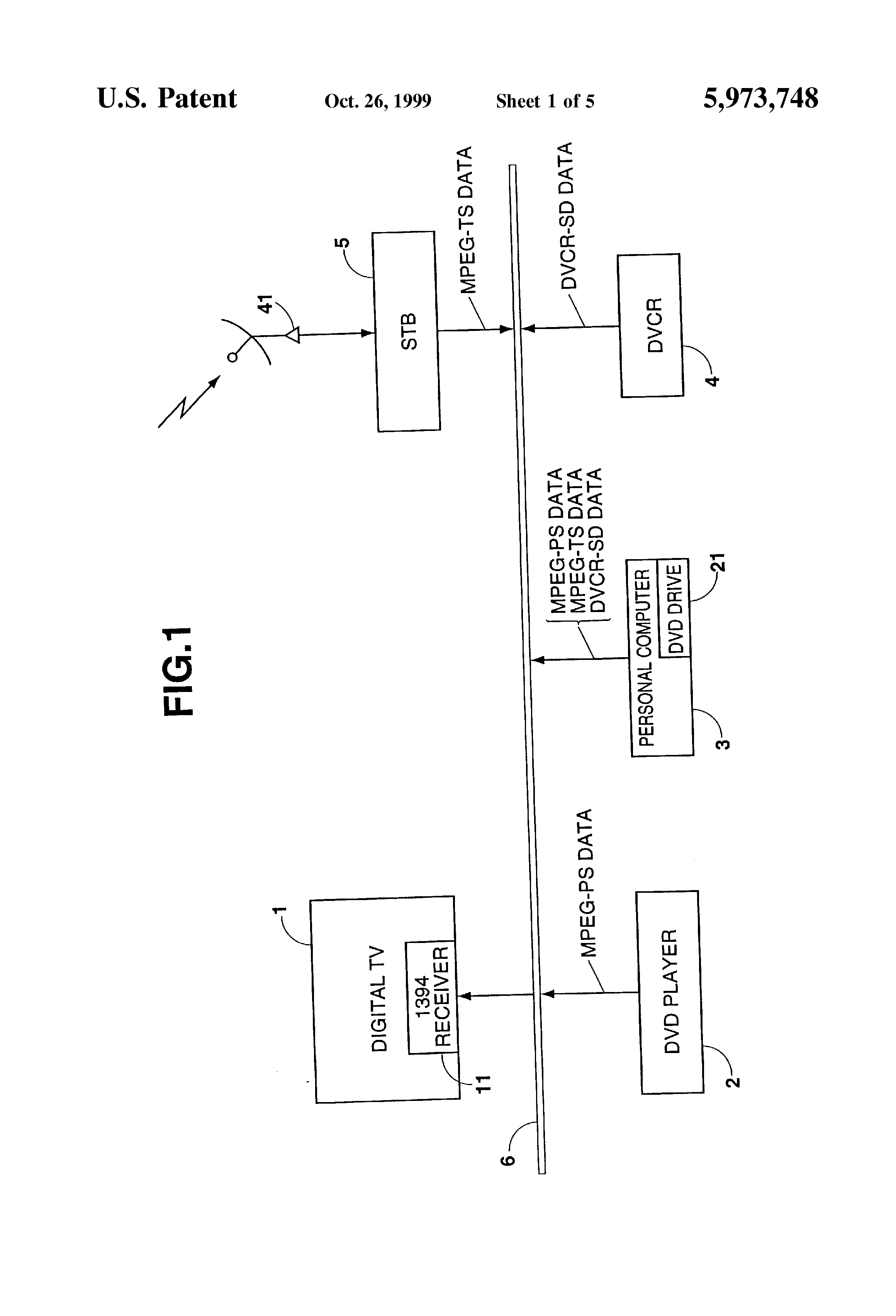 Patent Us5973748 Receiving Device And Method Thereof Figure 1 Block Diagram Of The Mpeg Multiplexer Drawing