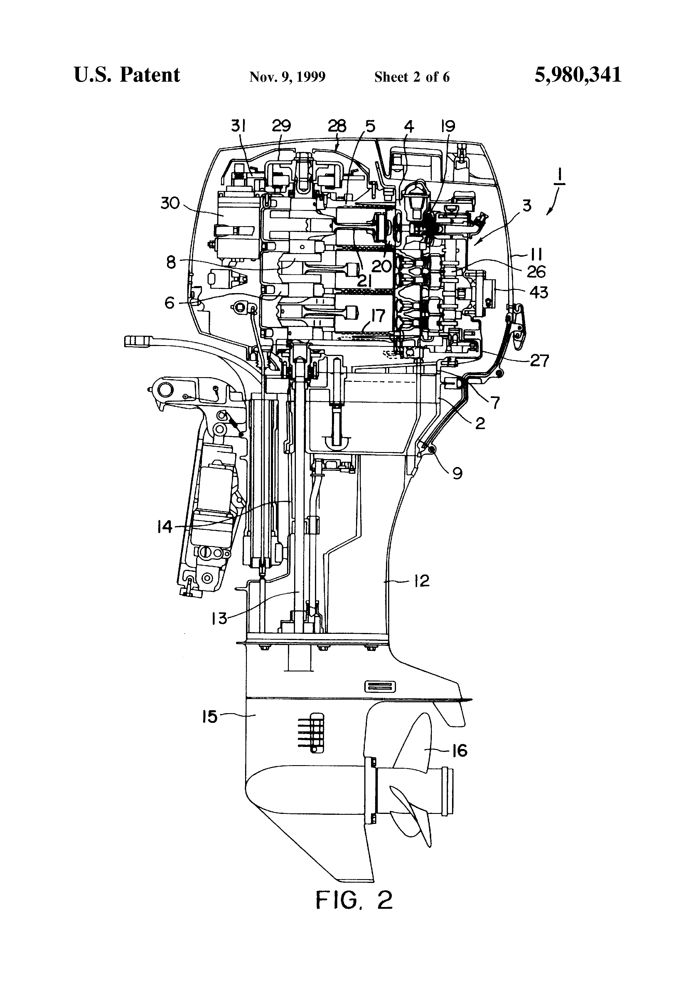 patent us5980341 - outboard motor