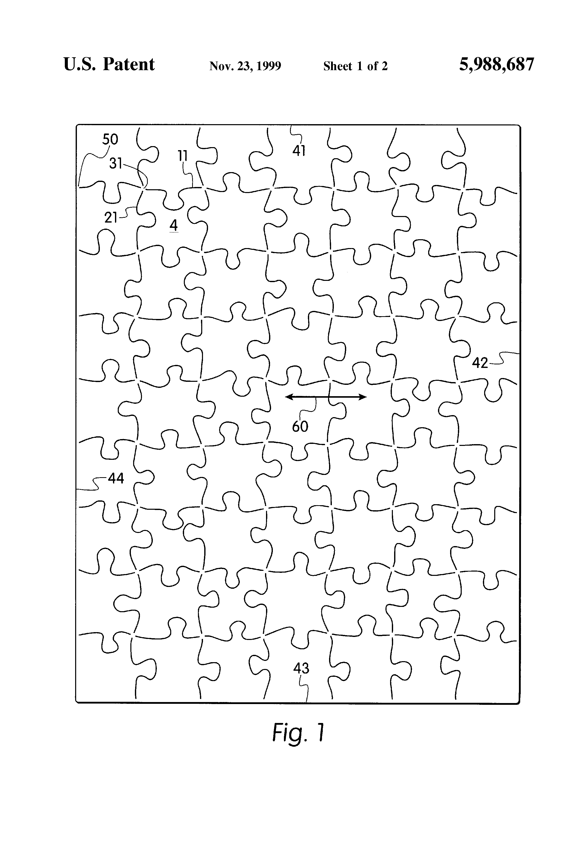 Patent US5988687 - Computer printable jigsaw puzzle - Google Patents