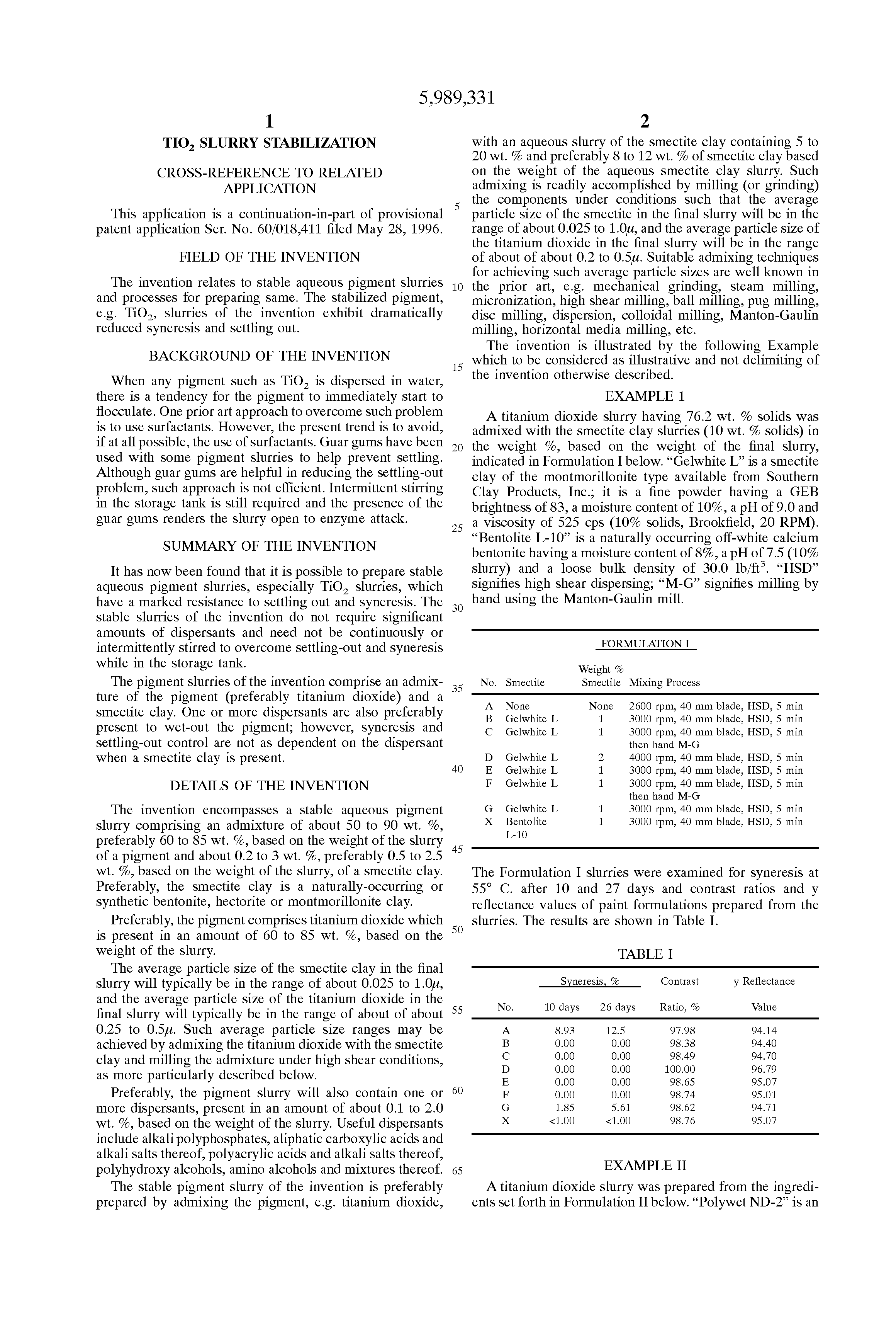 براءة الاختراع US5989331 - TiO2 slurry stabilization - براءات اختراع