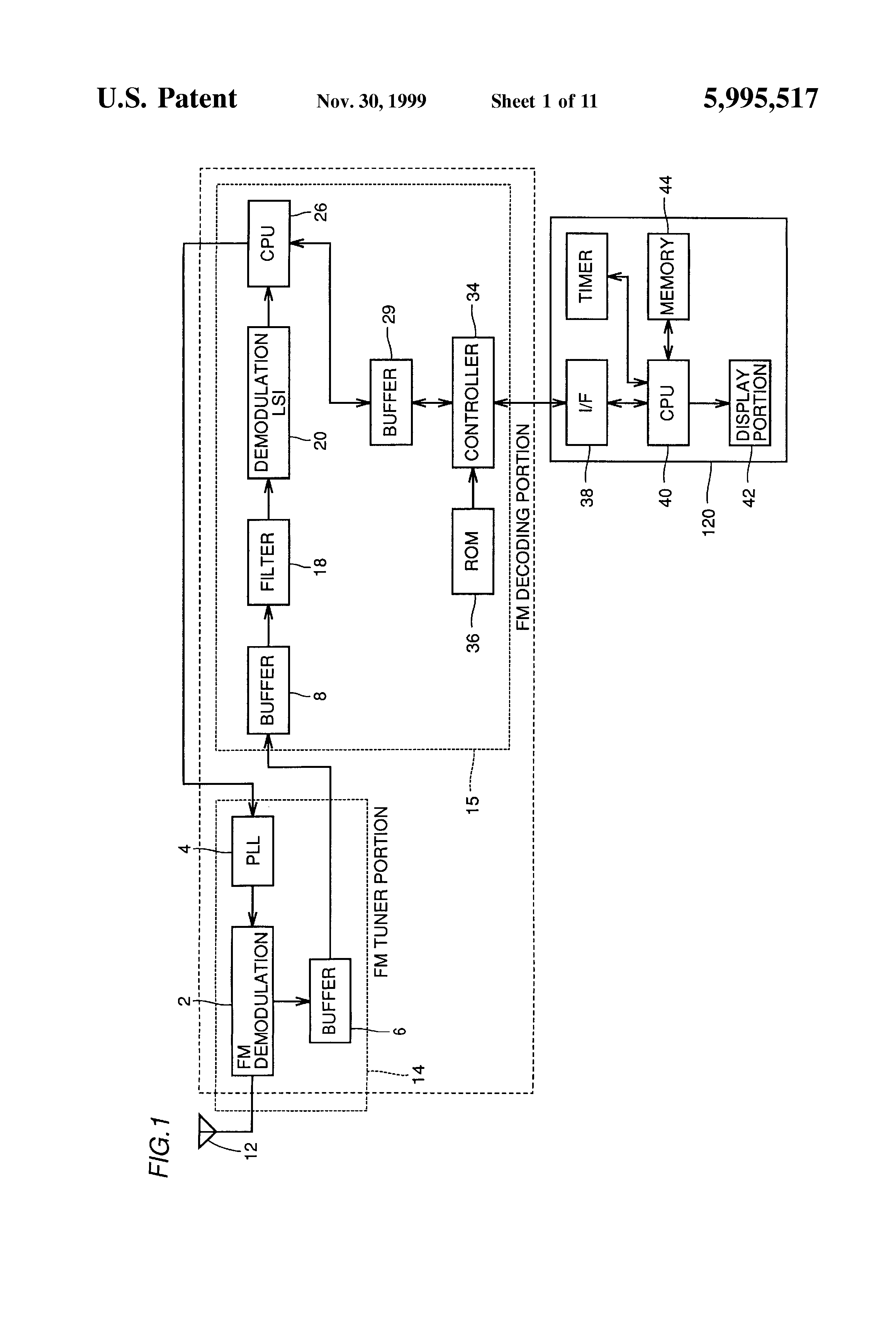 Patent Us5995517 Multiplexed Digital Signal Receiving Device Block Diagram Of N1 Multiplexer Drawing