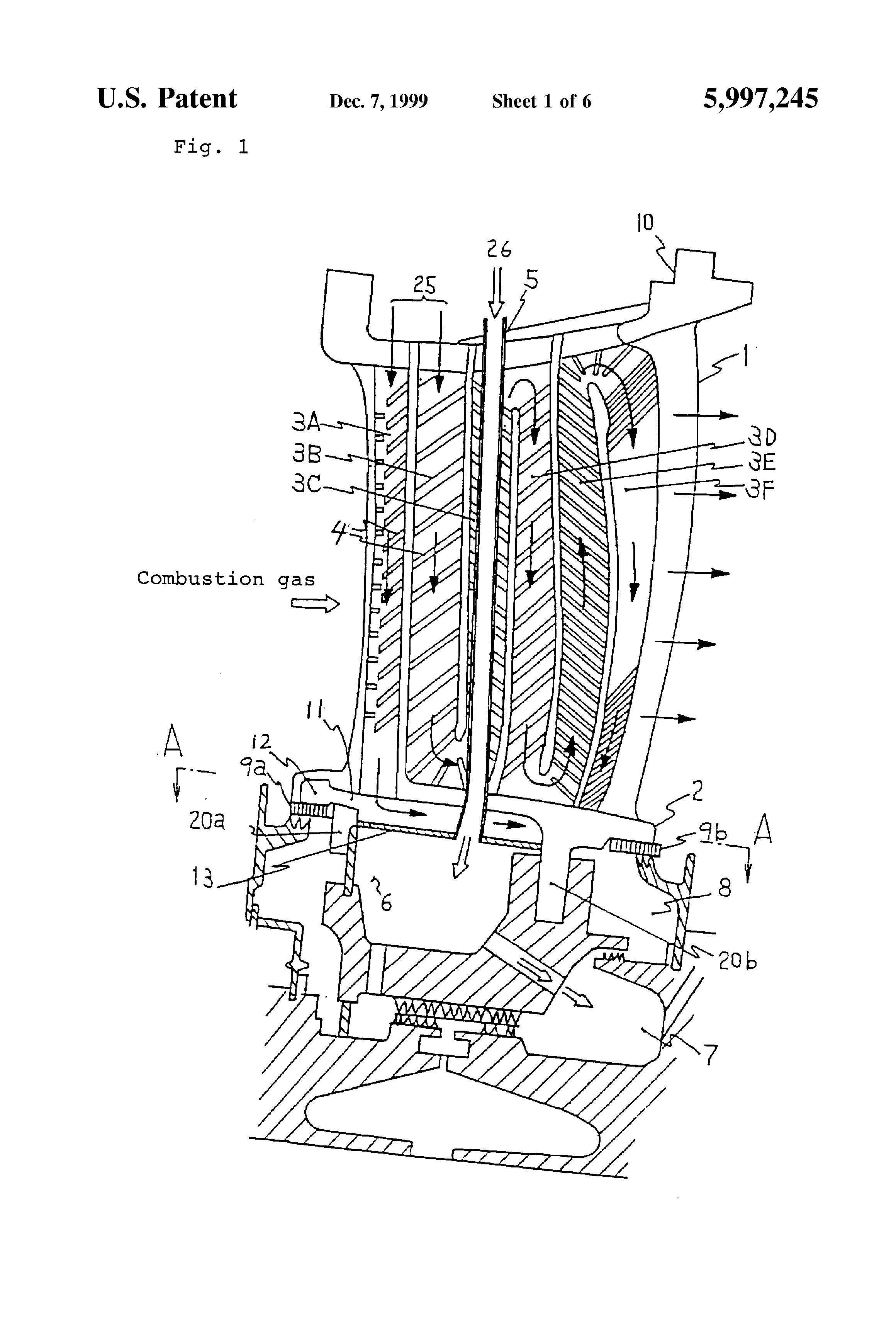 Patent US Cooled shroud of gas turbine stationary blade