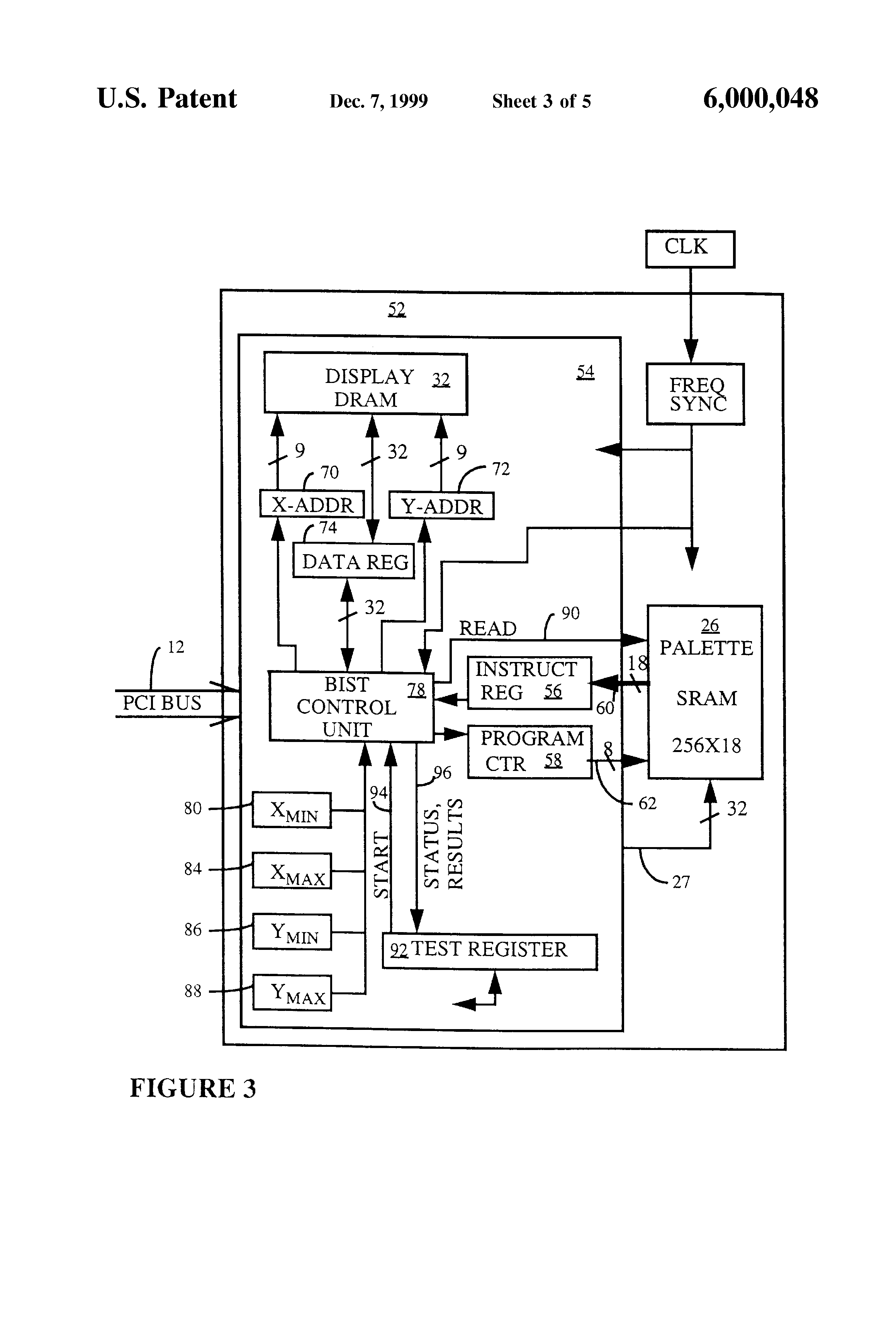 patent us6000048 - combined logic and memory circuit with built-in memory test