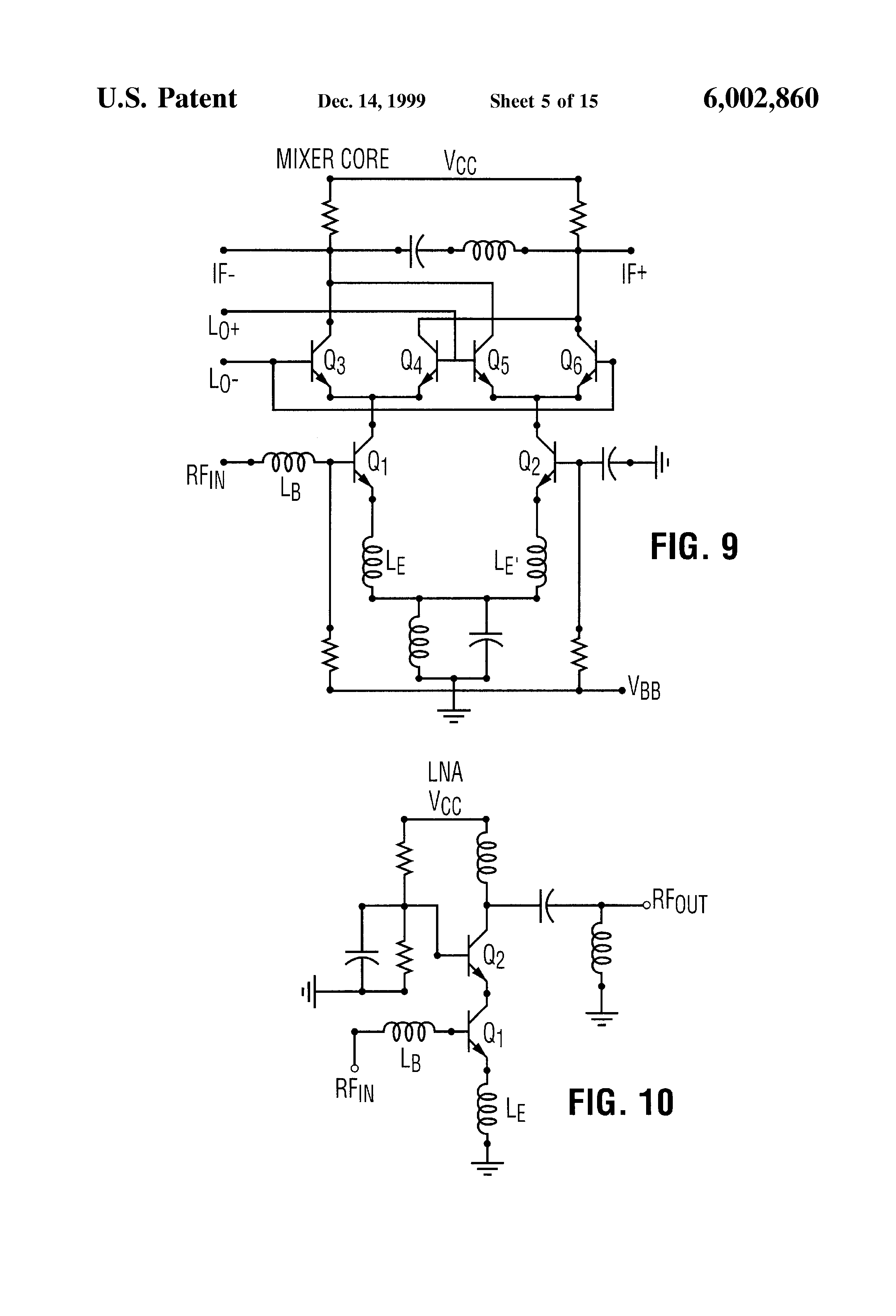 Patent Us6002860 High Frequency Noise And Impedance Matched The Mixer Circuit Of Radio Dual Npn Rf Drawing
