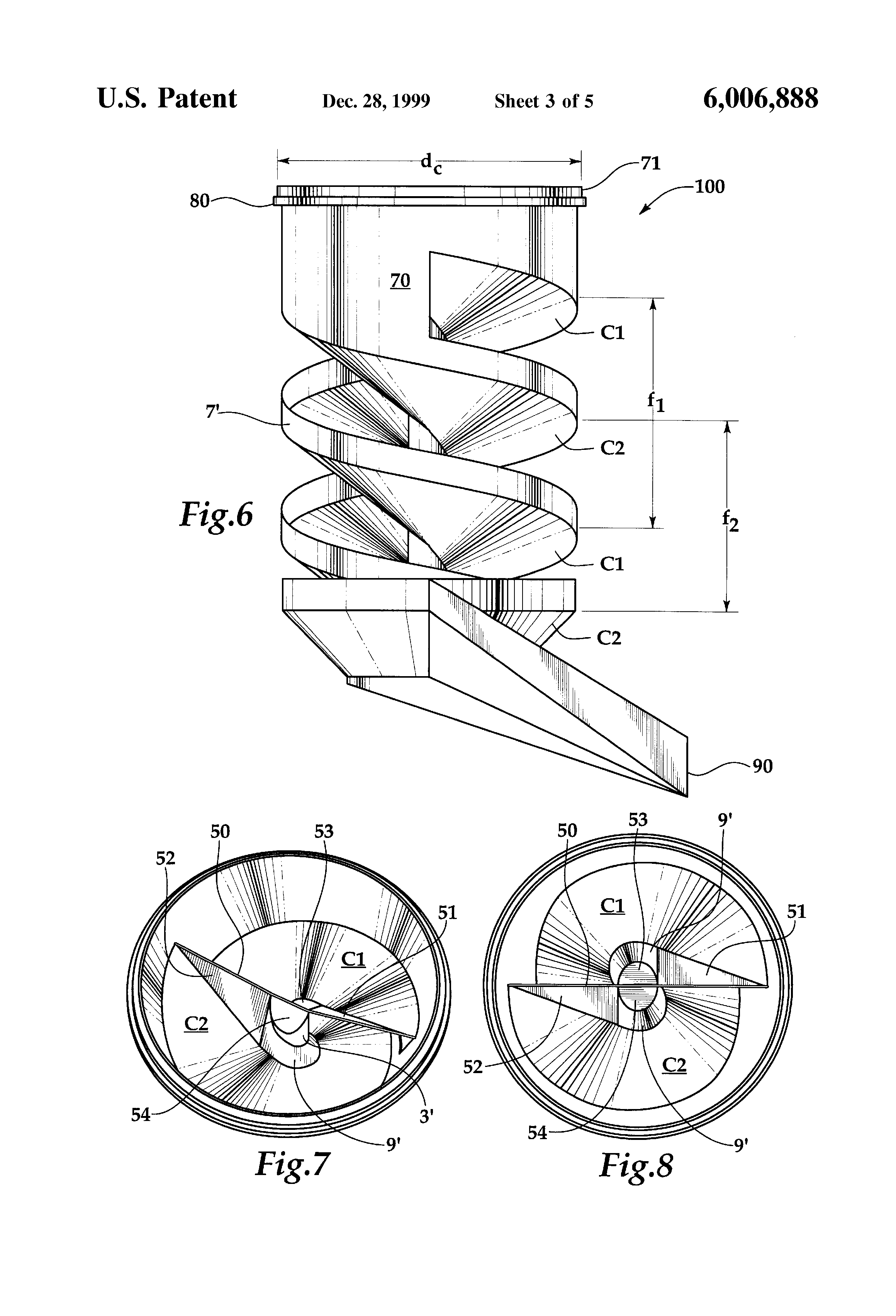 Patent Us6006888 Double Spiral Conveyor Google Patents