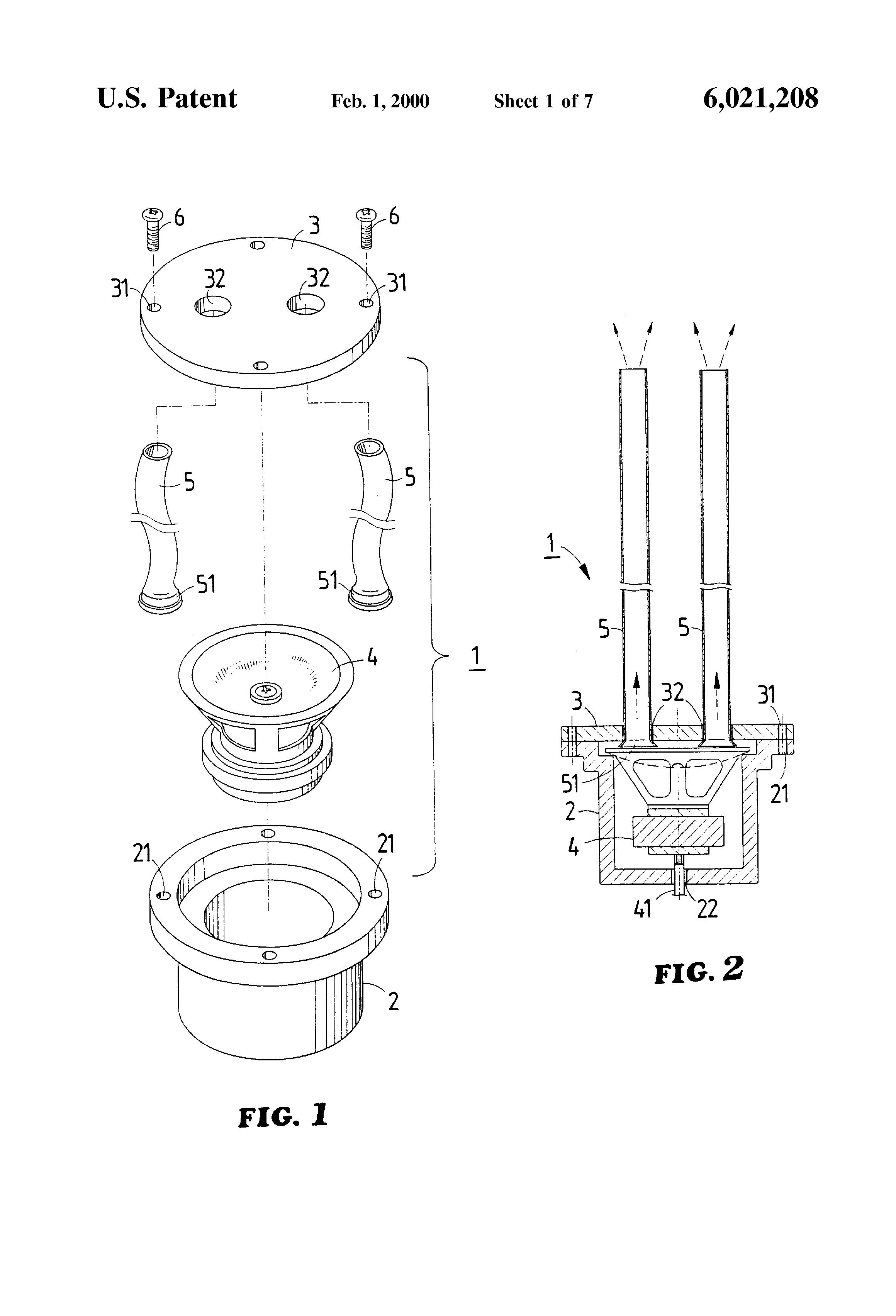 patent us6021208 - hidden speaker enclosure structure