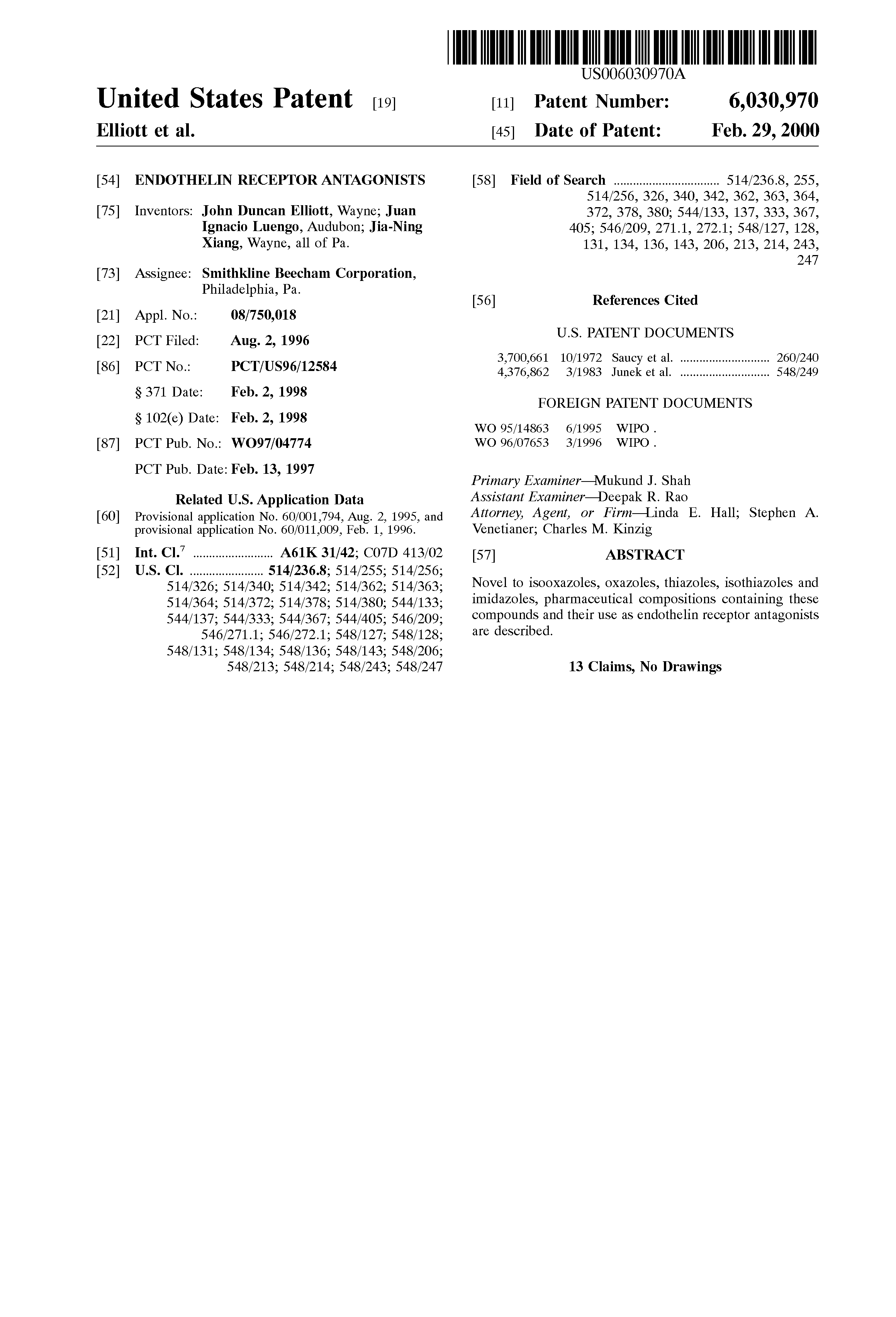 Patent US6030970 - Endothelin receptor antagonists - Google Patents