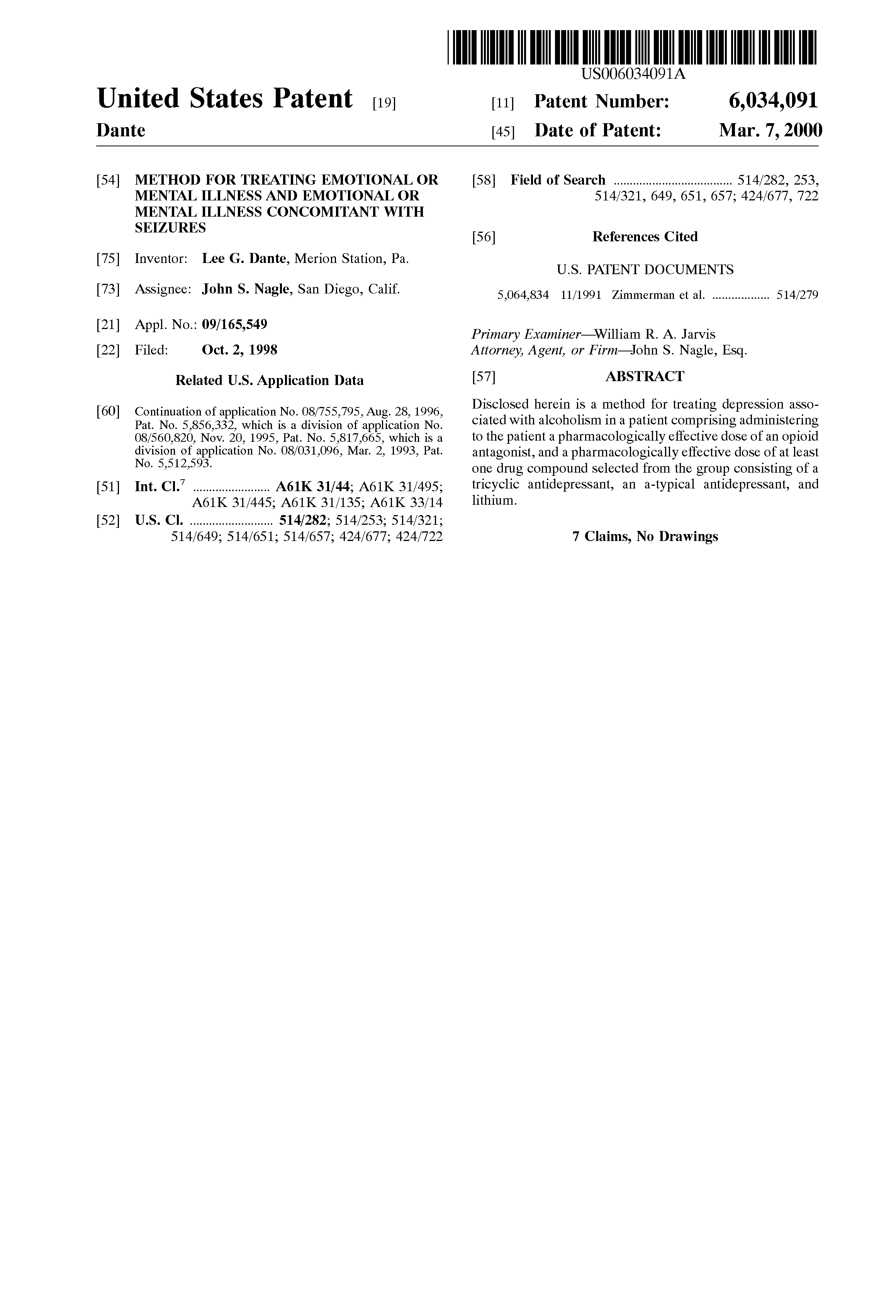 US6034091A - Method for treating emotional or mental illness