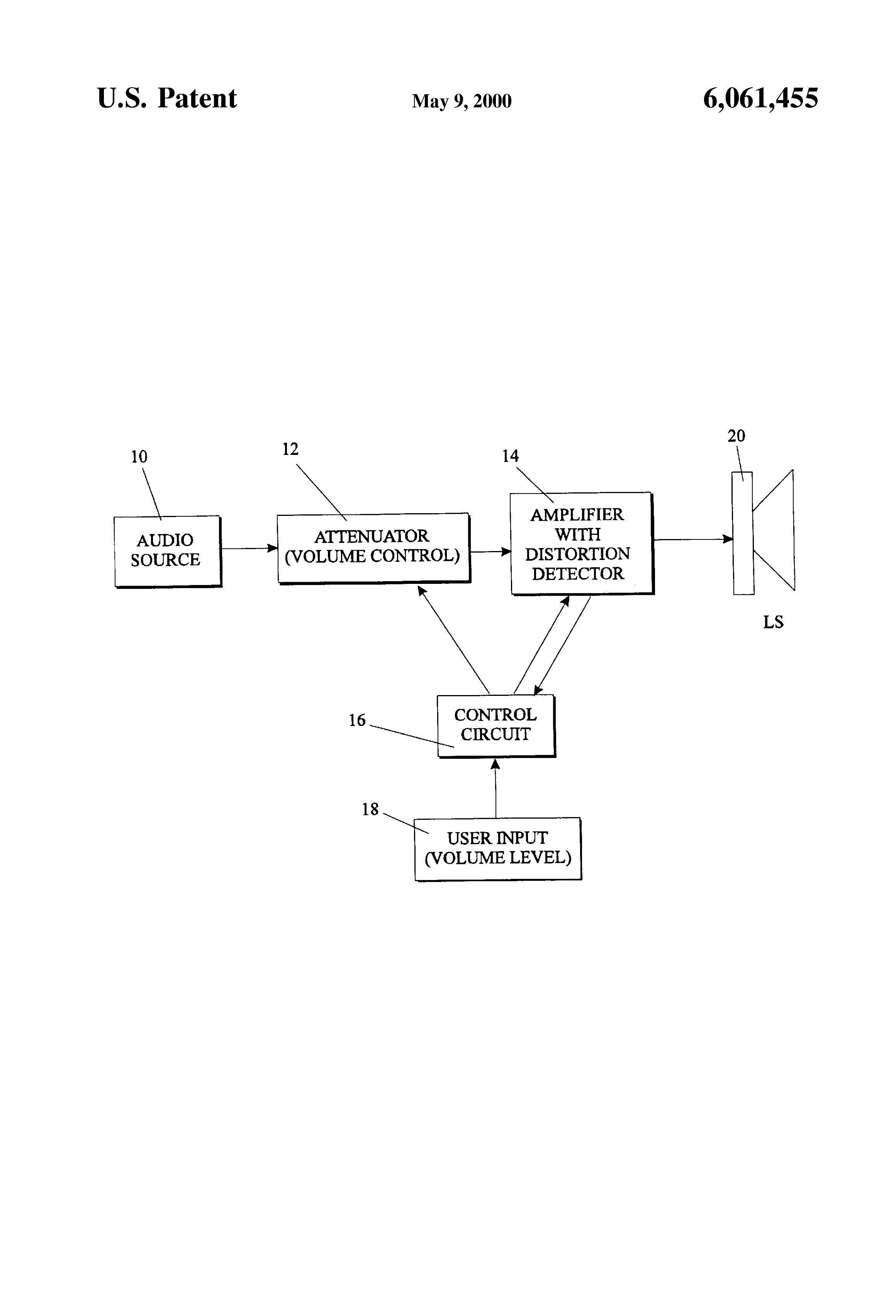 Us6061455 Audio System Google Volume Control Circuit Patent Drawing