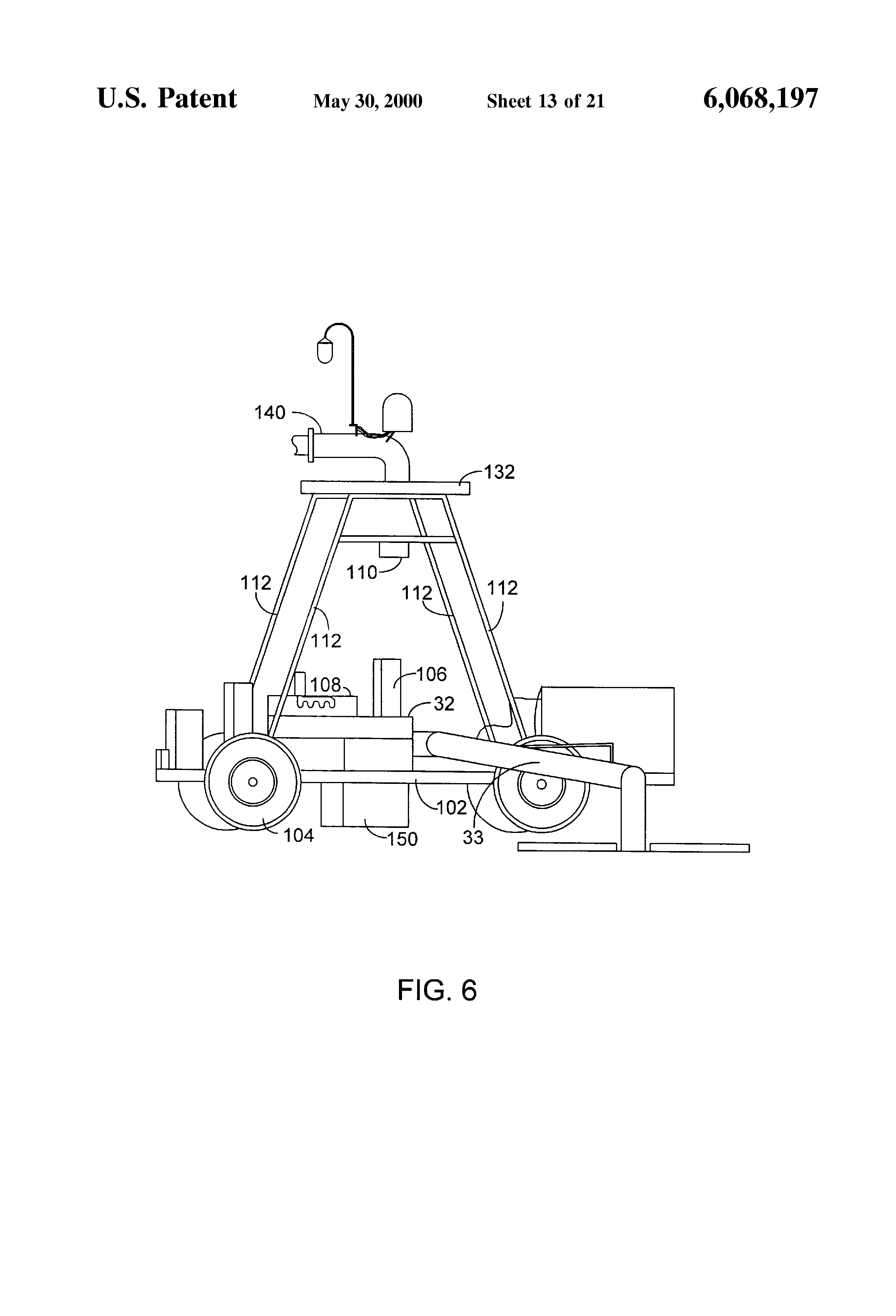 patent us6068197 pivoting lateral move irrigation system which patent drawing