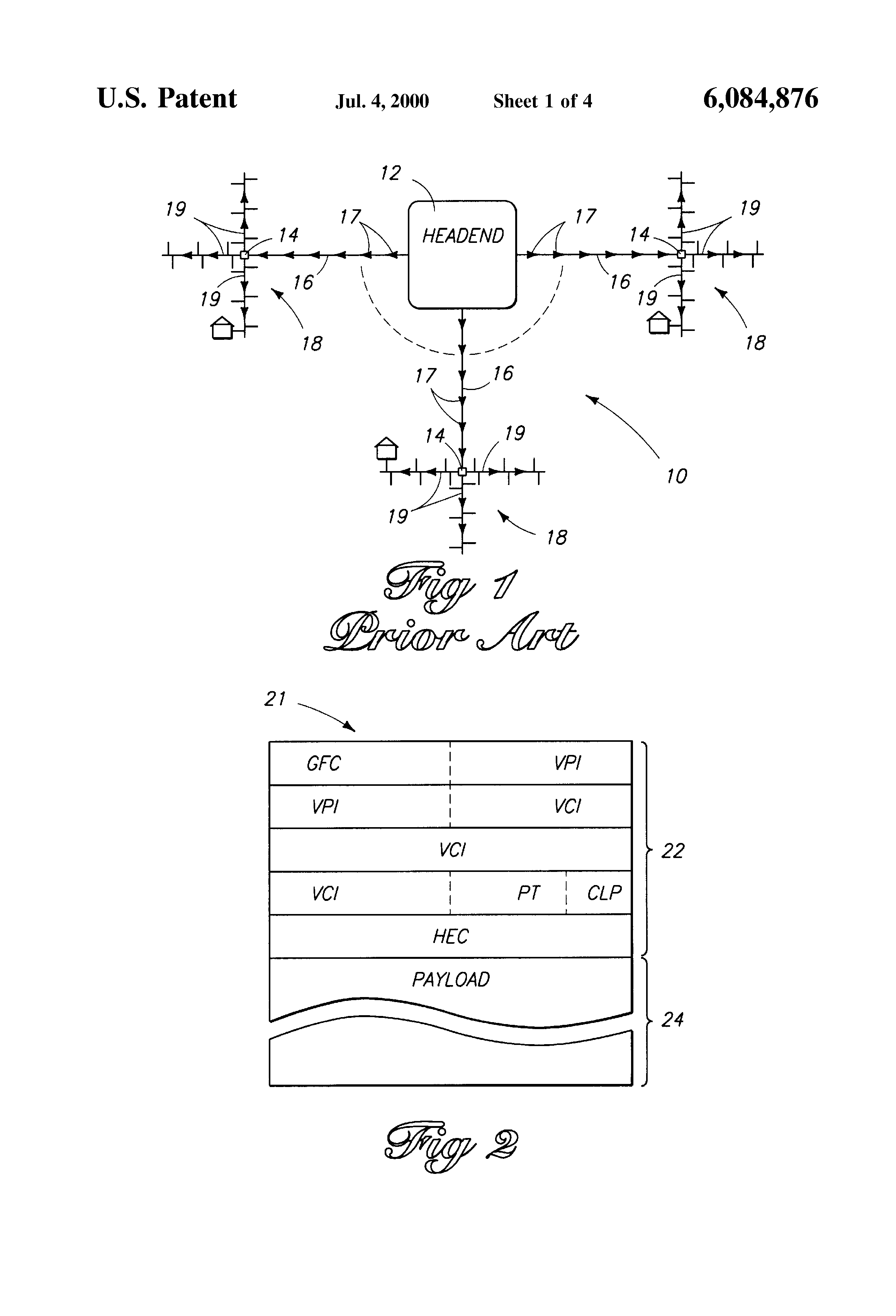 Patent Us6084876 Dynamic Atm Connection Management In A Hybrid Fiber Coax Hfc Definition And Diagram Drawing