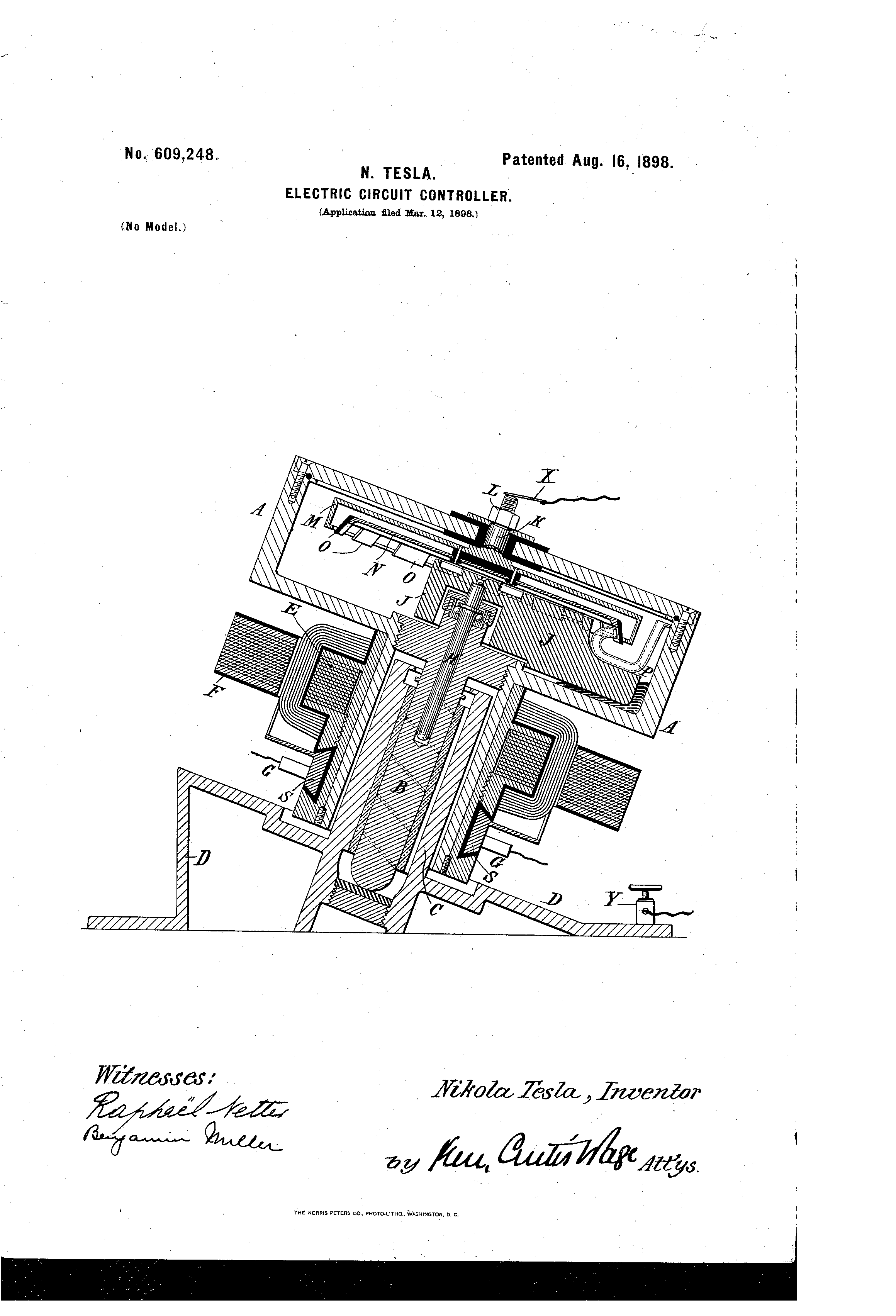 patent us609248 - nikola tesla