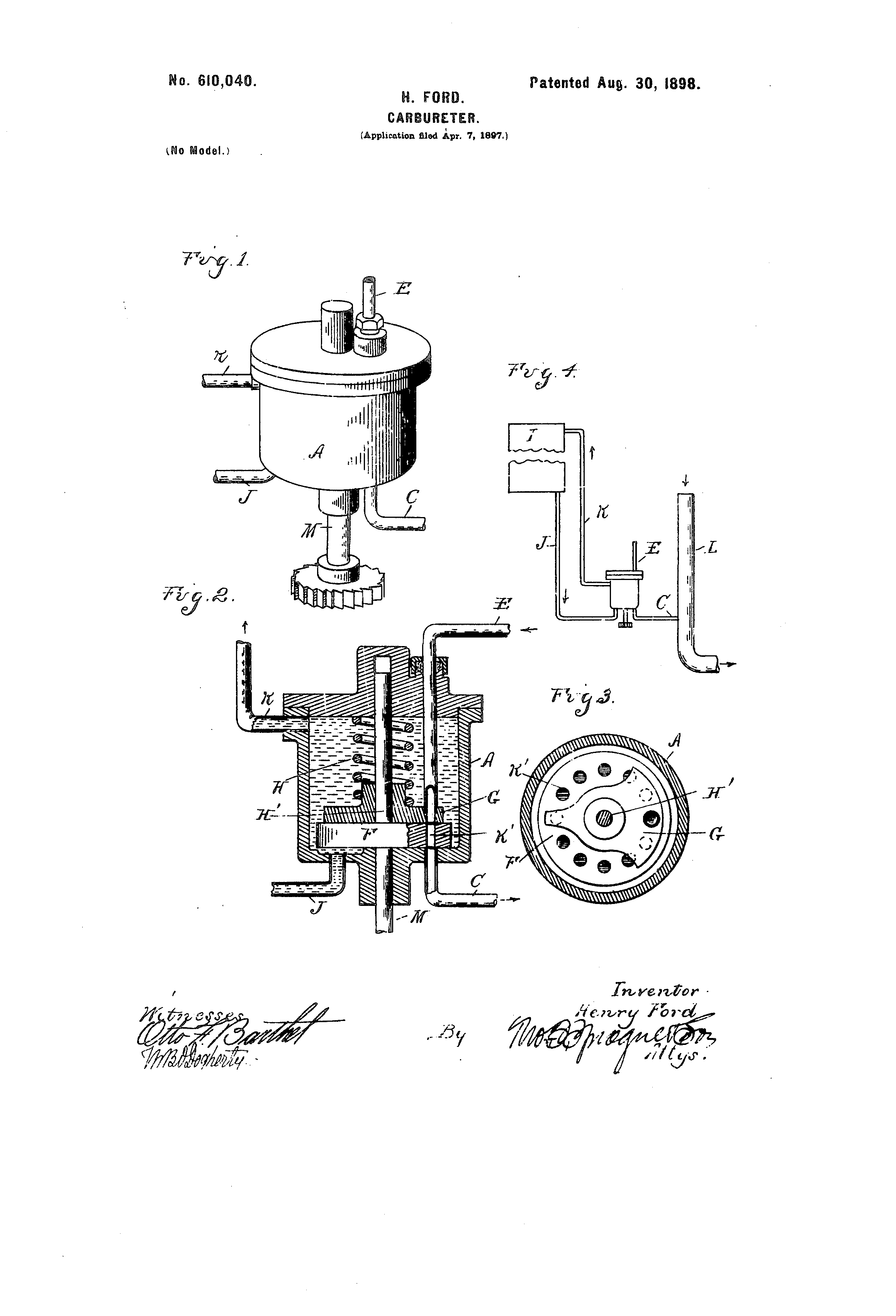 Henry Ford Random Patents #8 US 610040 Carburetor 1898