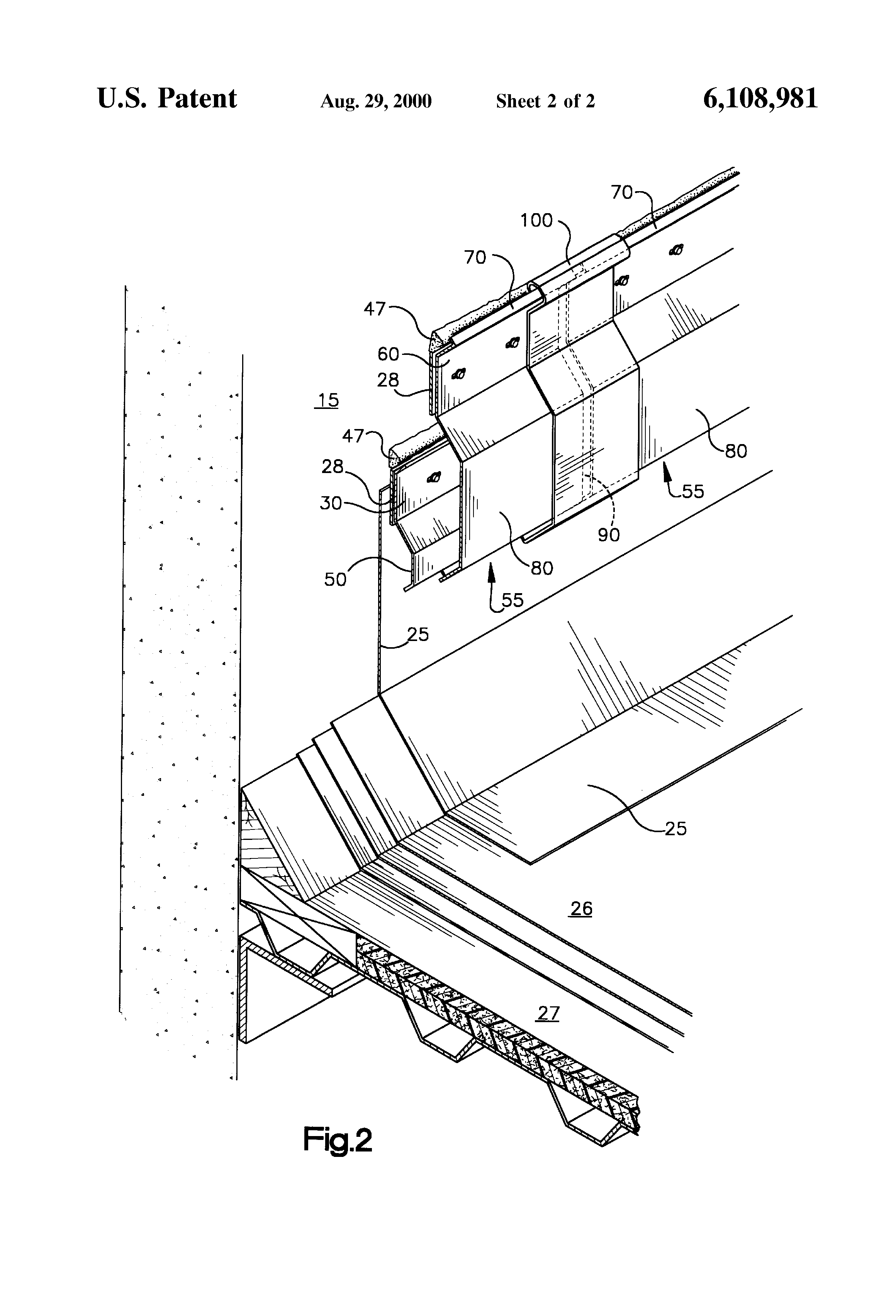 Patent Us6108981 Surface Mount Counter Flashing System