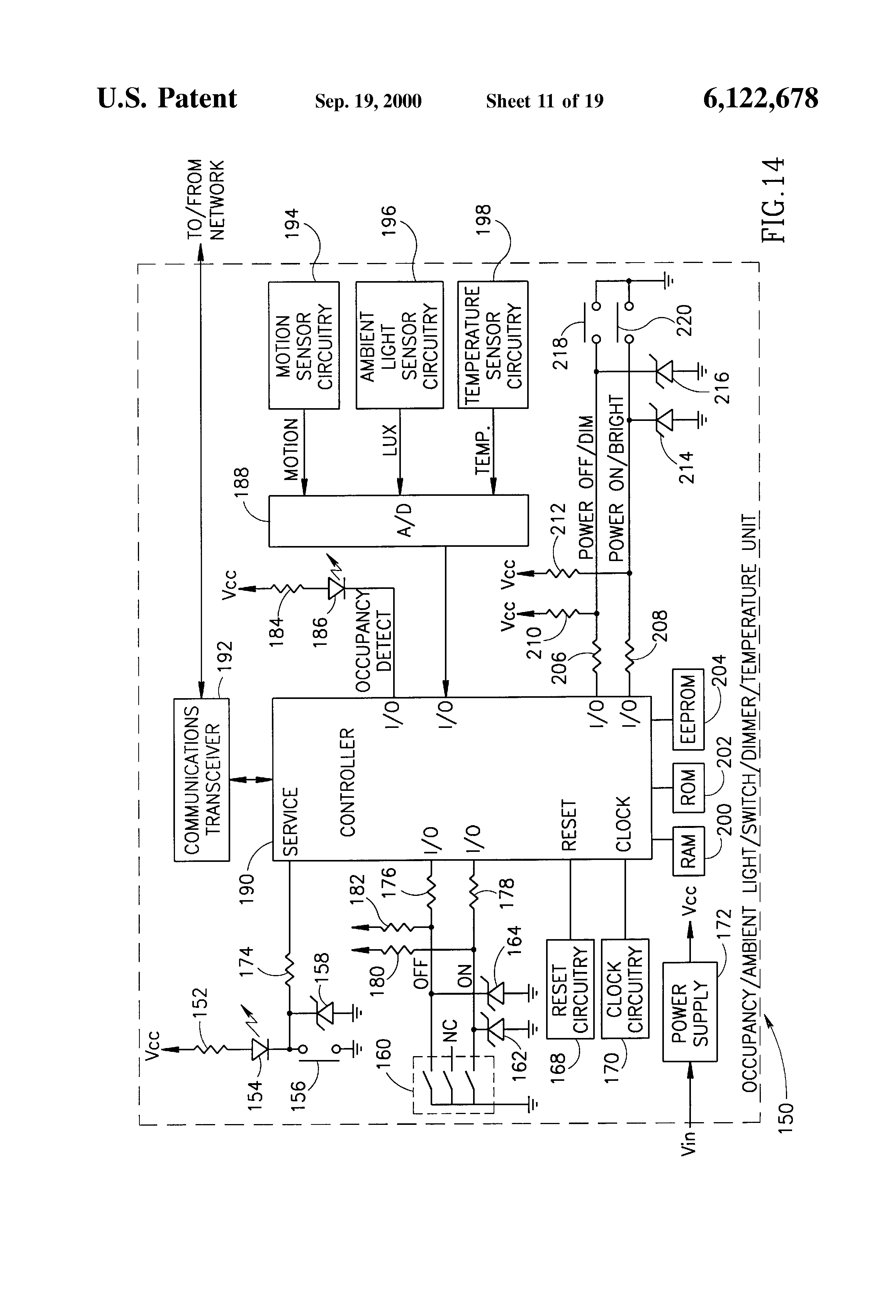 Patent Us6122678 Local Network Based Multiple Sensor Device With Infraredled Wireless Data Voice Communication Circuit Drawing