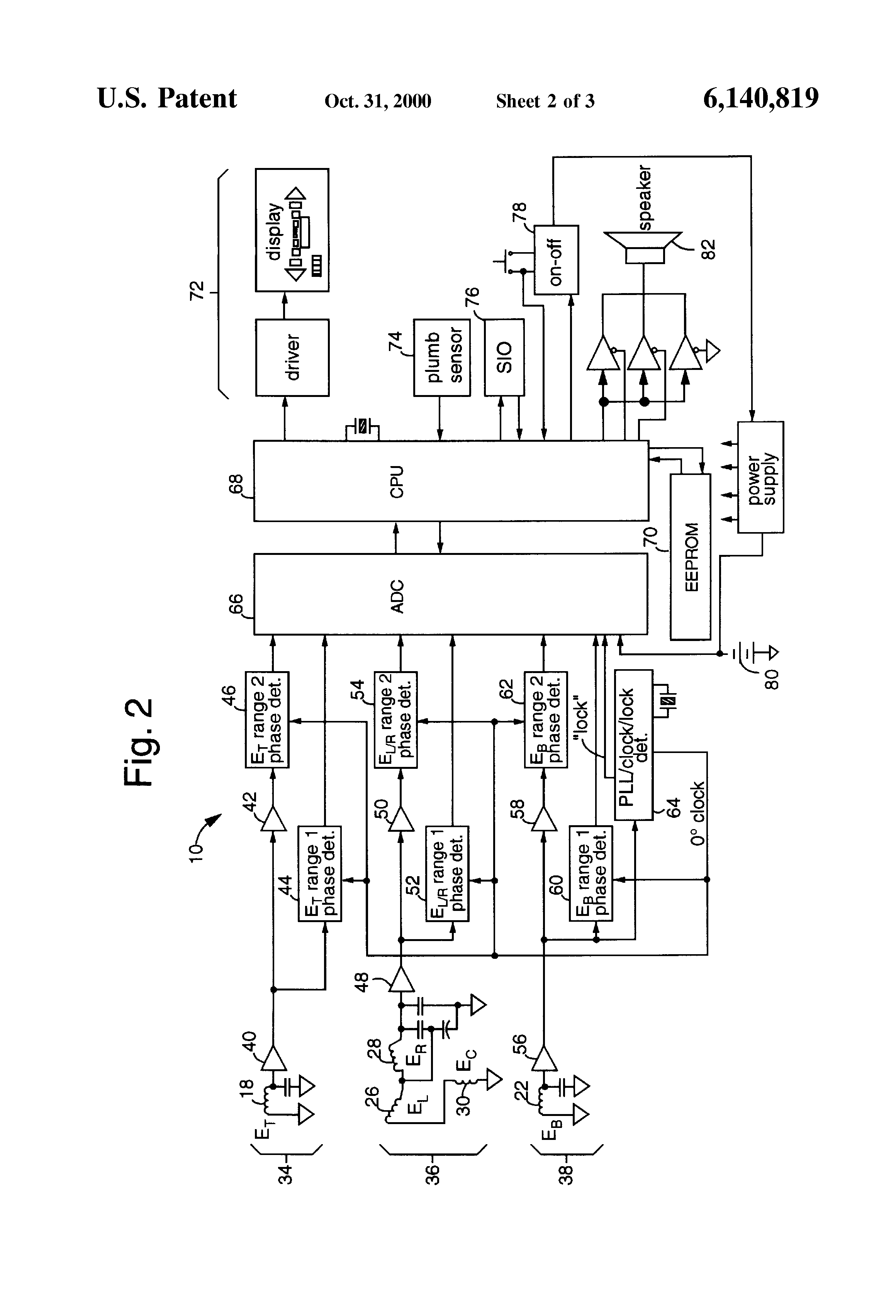 patent us6140819 - continuous-depth-indicating underground pipe and cable locator