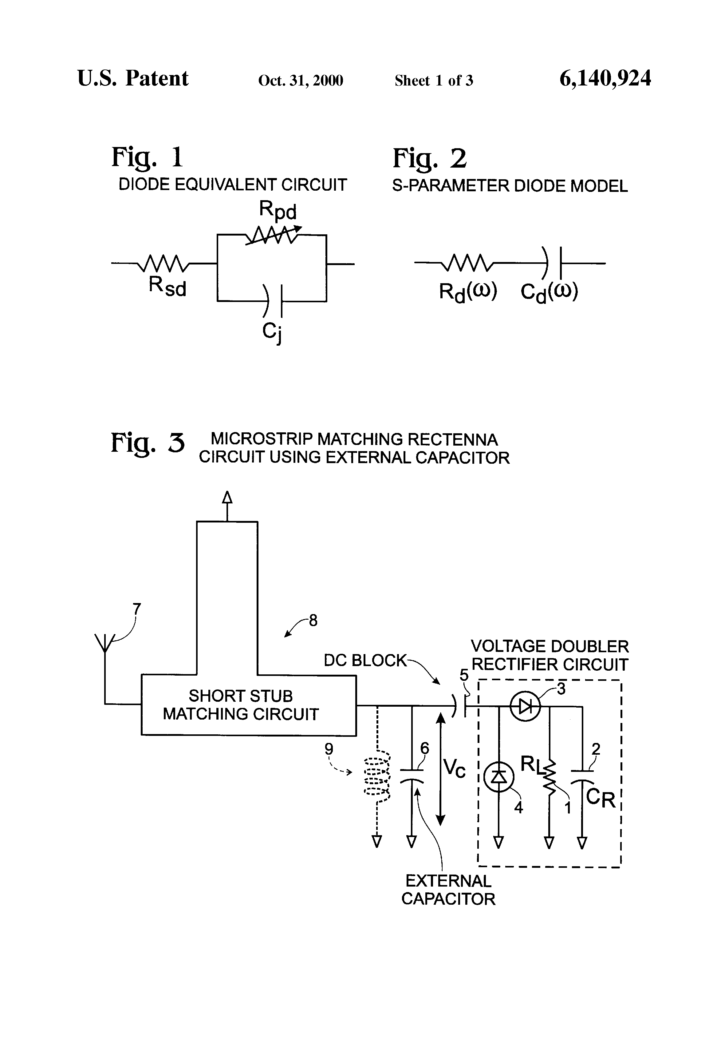 Us6140924 Rectifying Antenna Circuit Voltage Multiplier With Diodes And Capacitors Patent Drawing