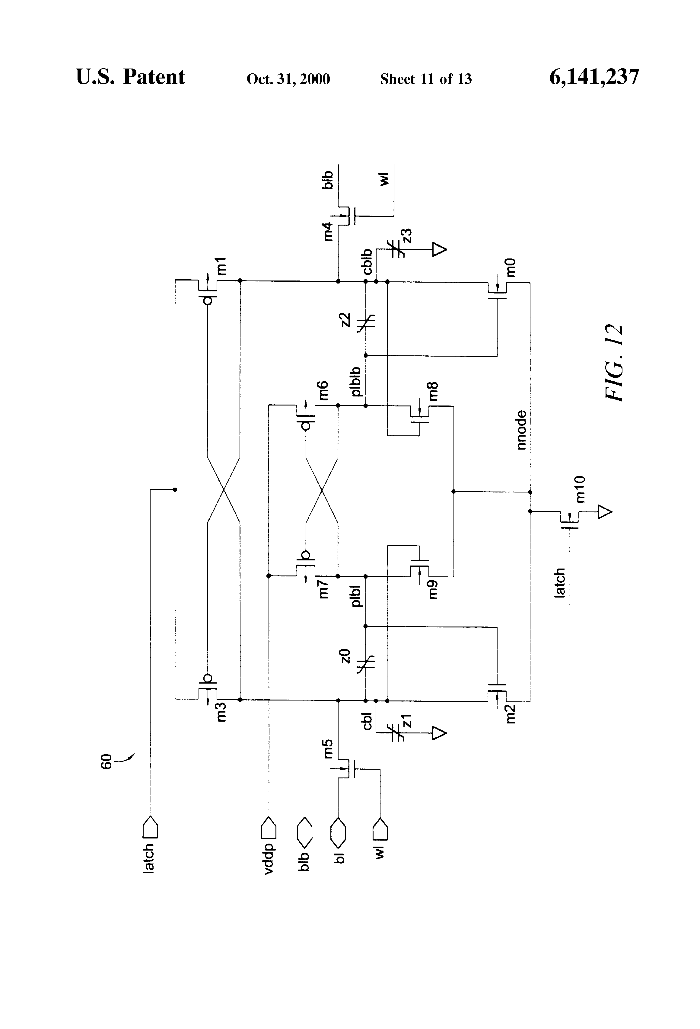 Patent Us6141237 Ferroelectric Non Volatile Latch Circuits Latching Schematic Picture Drawing