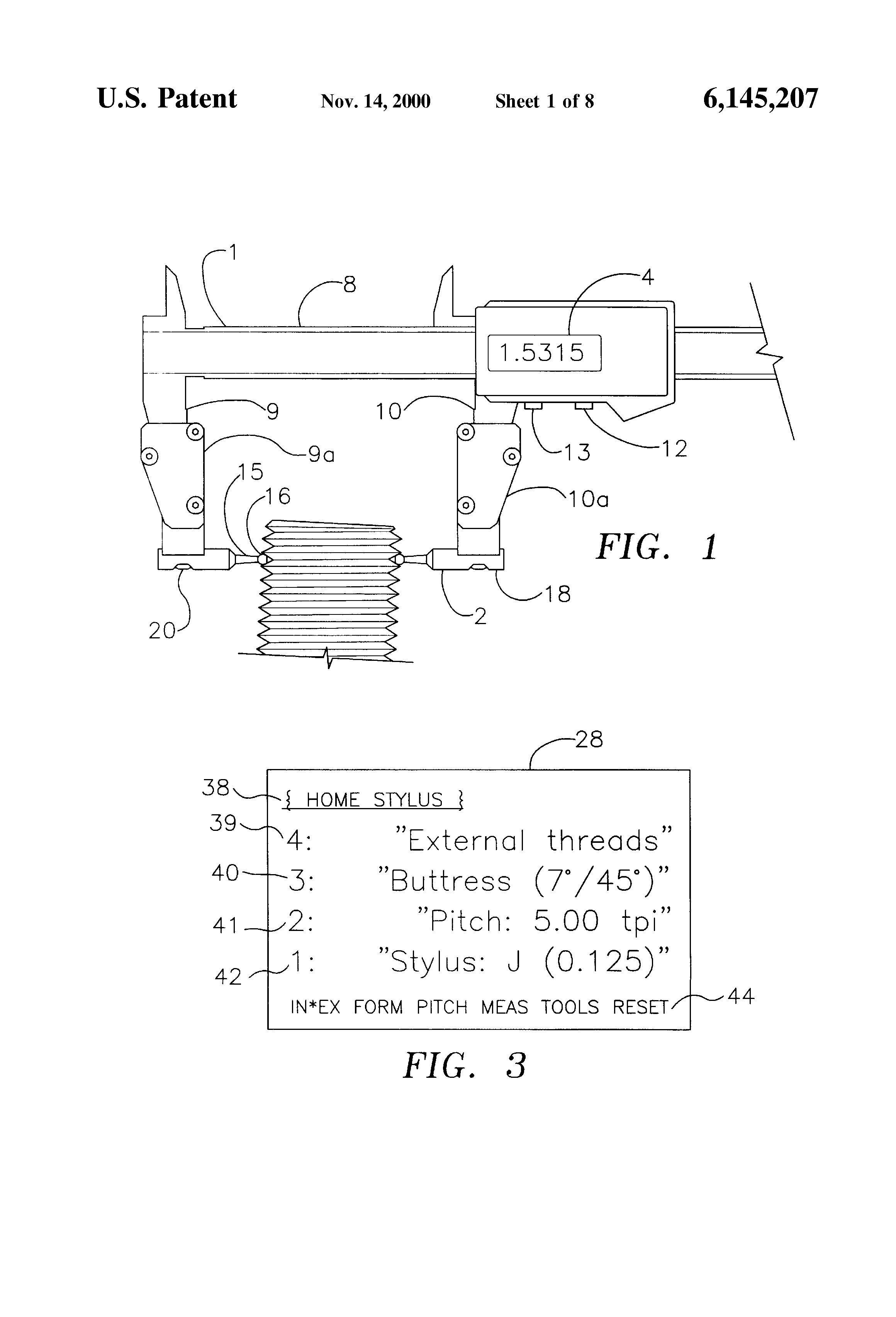 Patent US6145207 - Thread pitch diameter measuring system