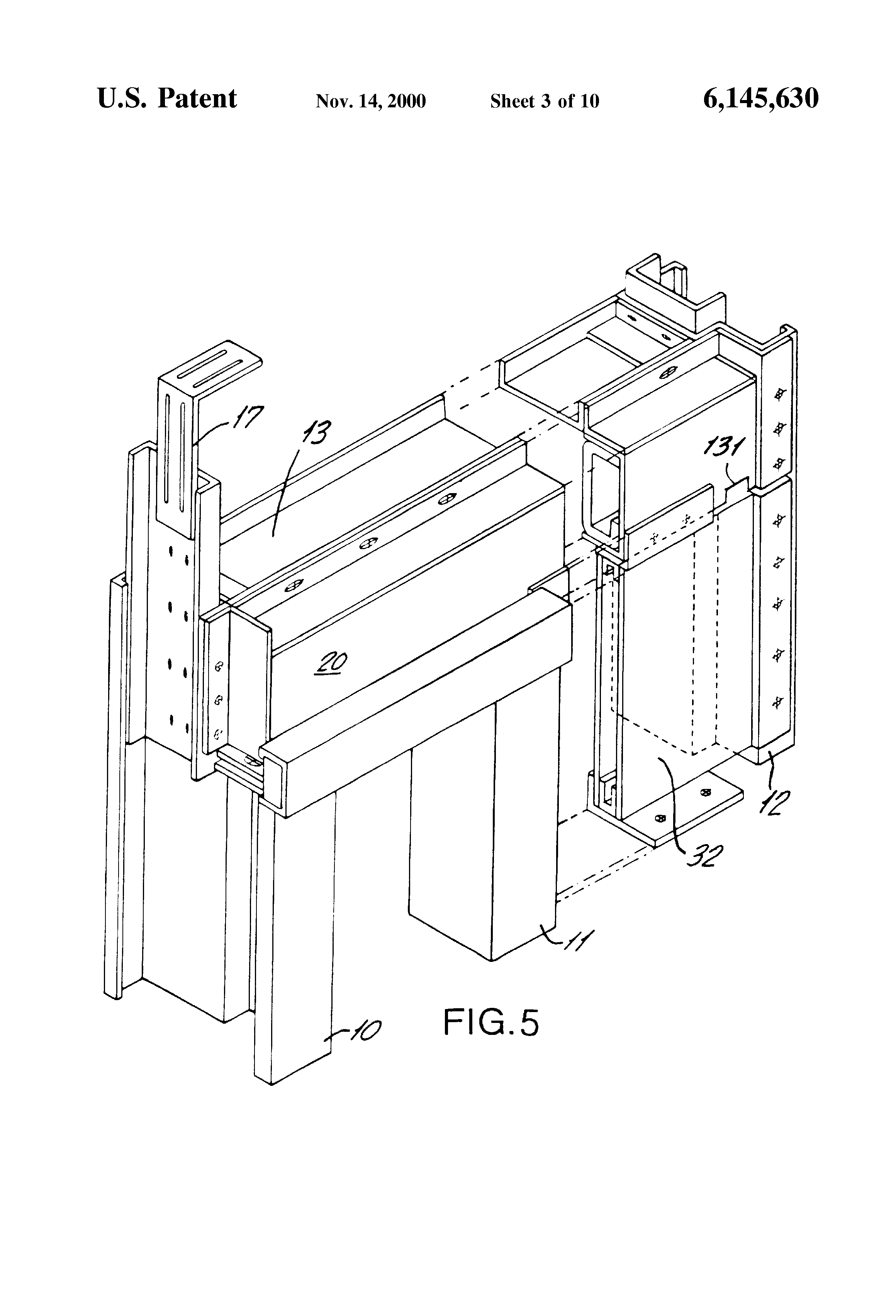 Patent Us6145630 Sliding Elevator Door Assembly And