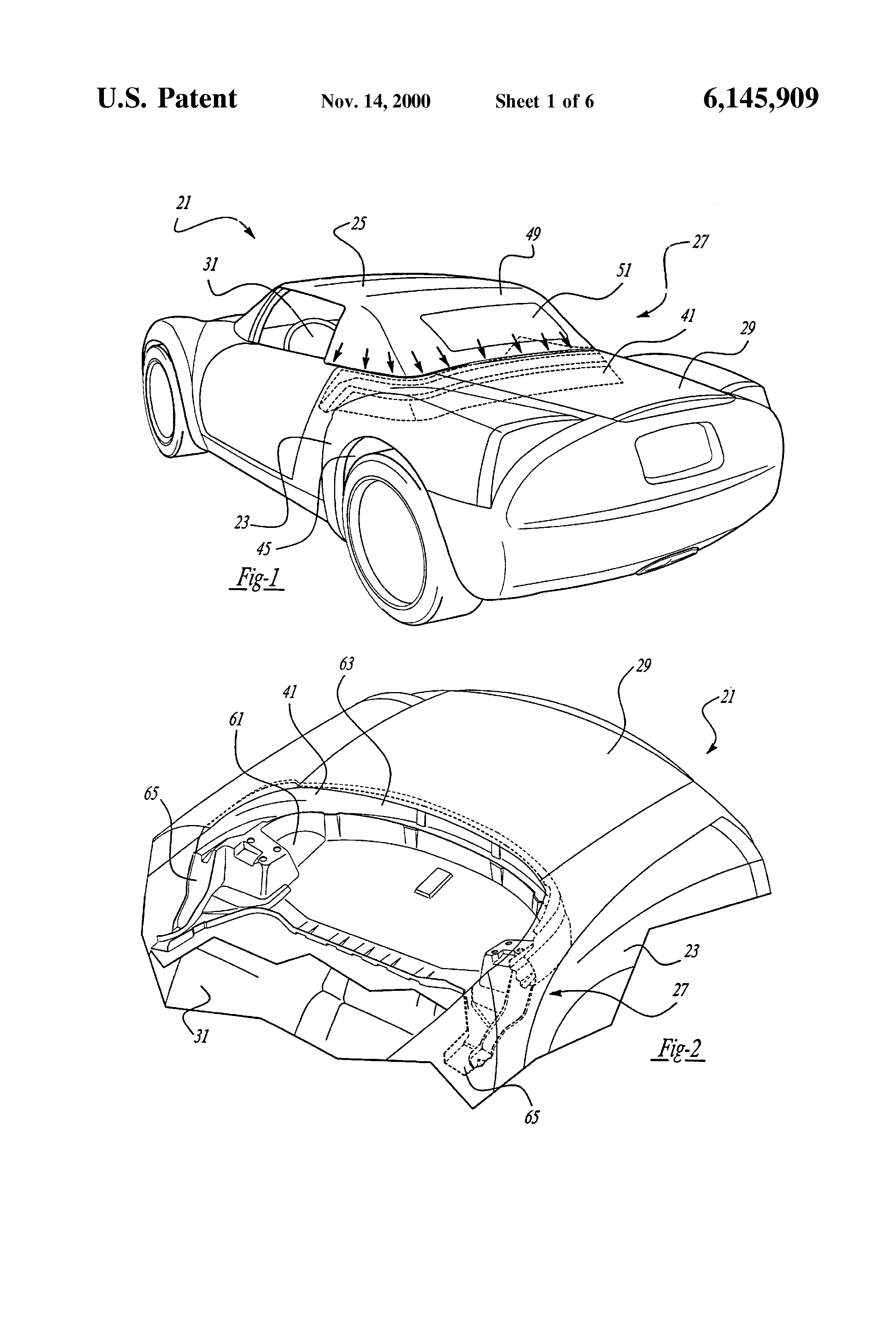 patent us6145909 automotive vehicle bootwell and drain trough 2005 Mustang Rear View patent drawing