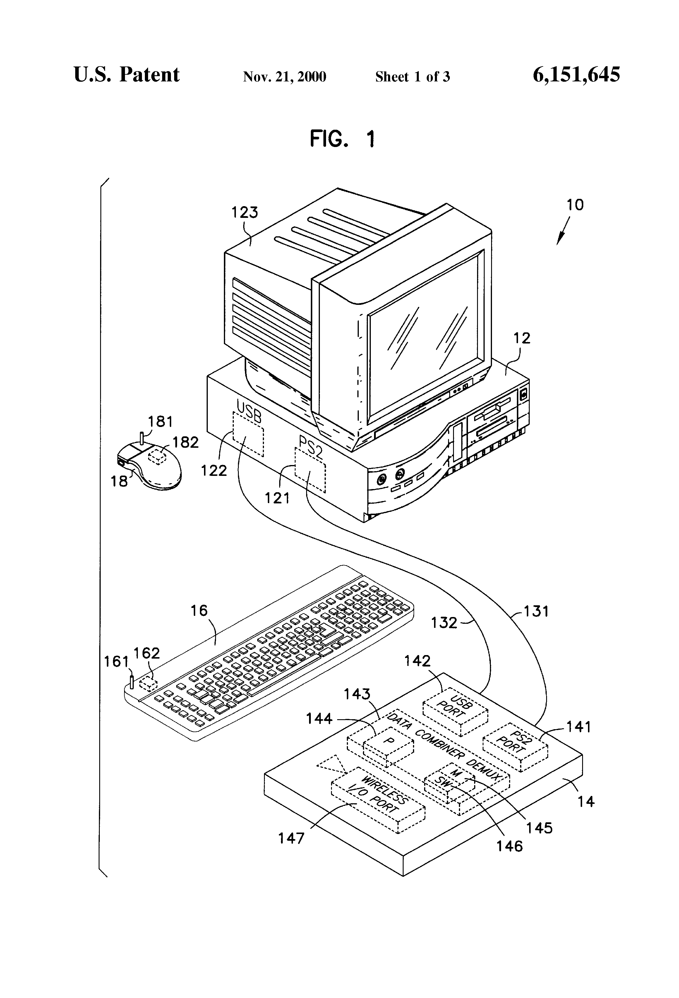 patent us6151645 puter municates with two in patible Washable Keyboard patent drawing