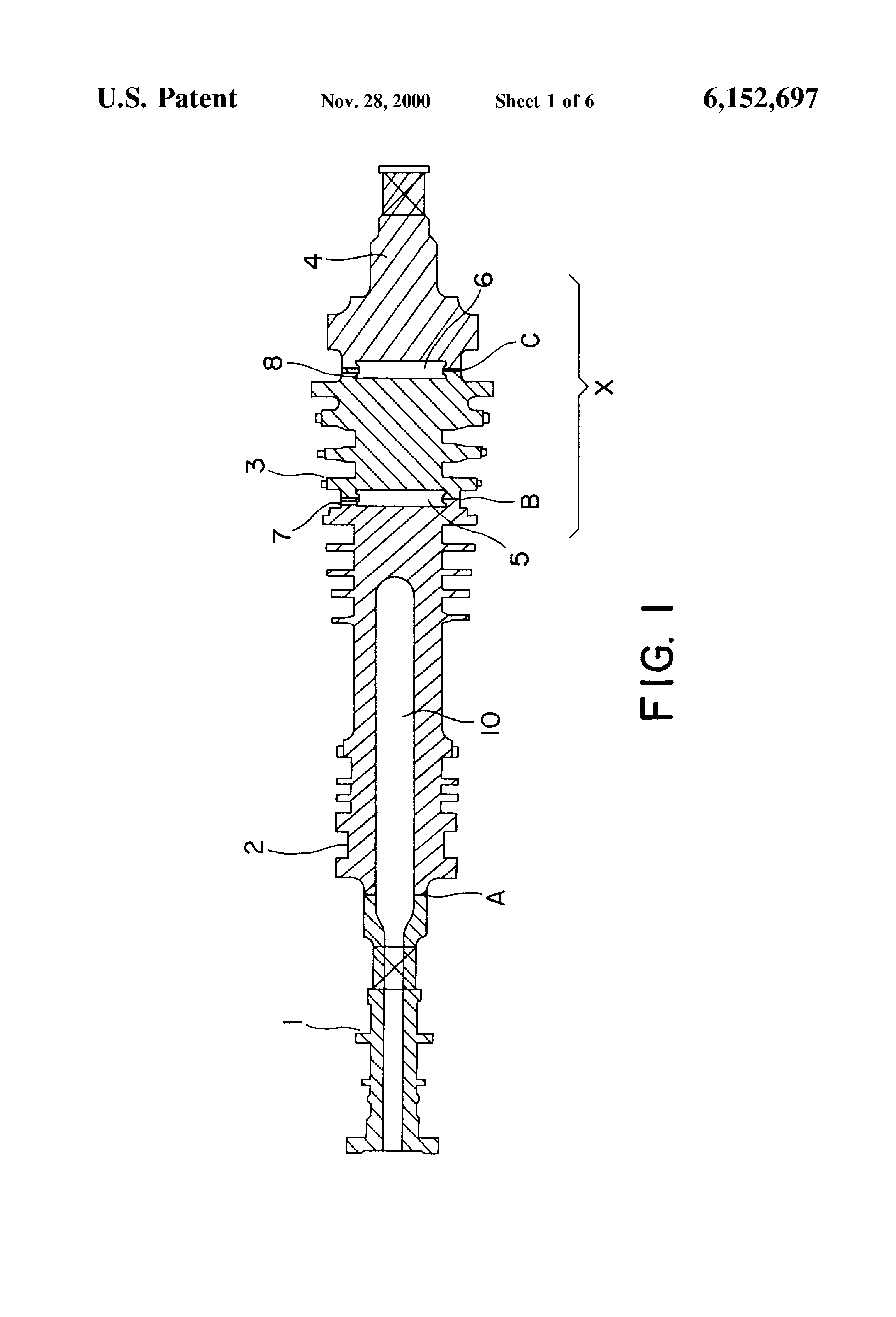 Patent US Steam turbine different material welded rotor