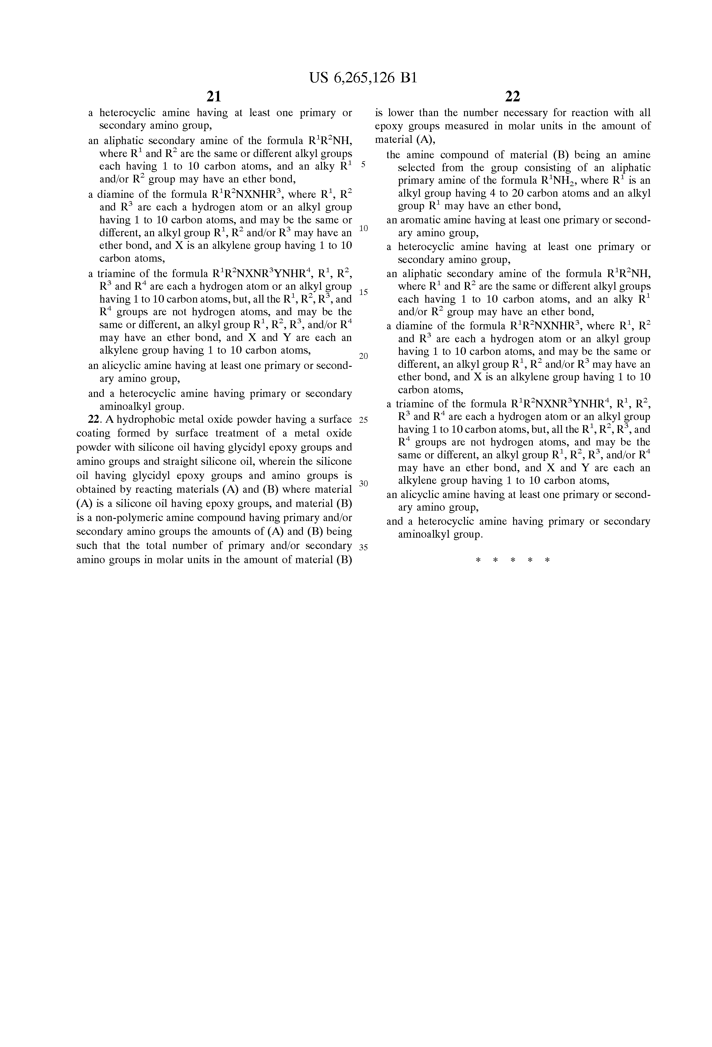 Patent US6265126 - Hydrophobic metal oxide powder and