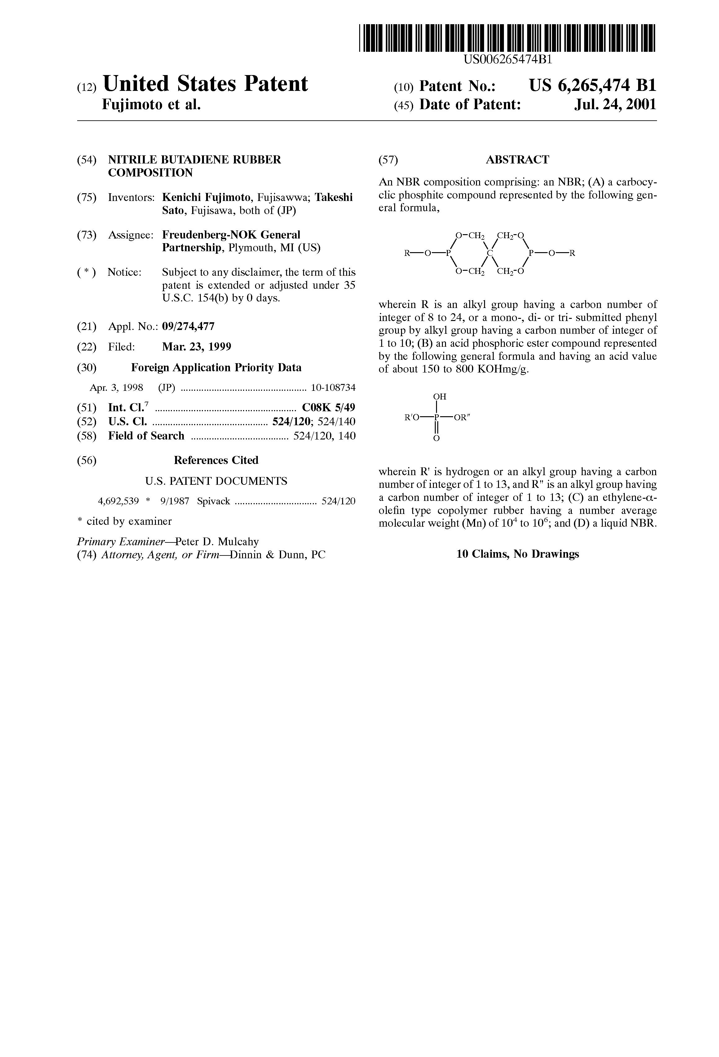Patent US6265474 - Nitrile butadiene rubber composition - Google Patents