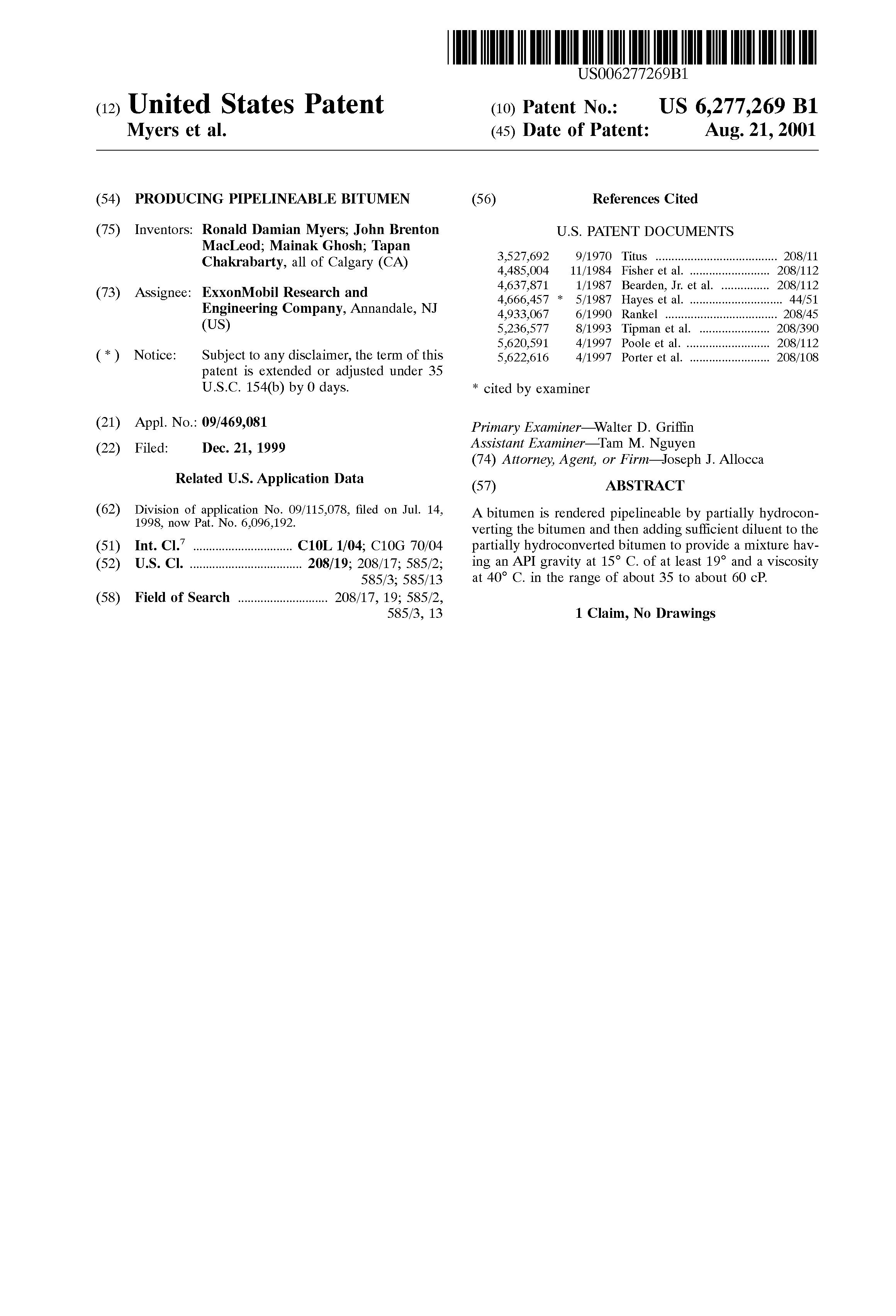 Patent US6277269 - Producing pipelineable bitumen - Google