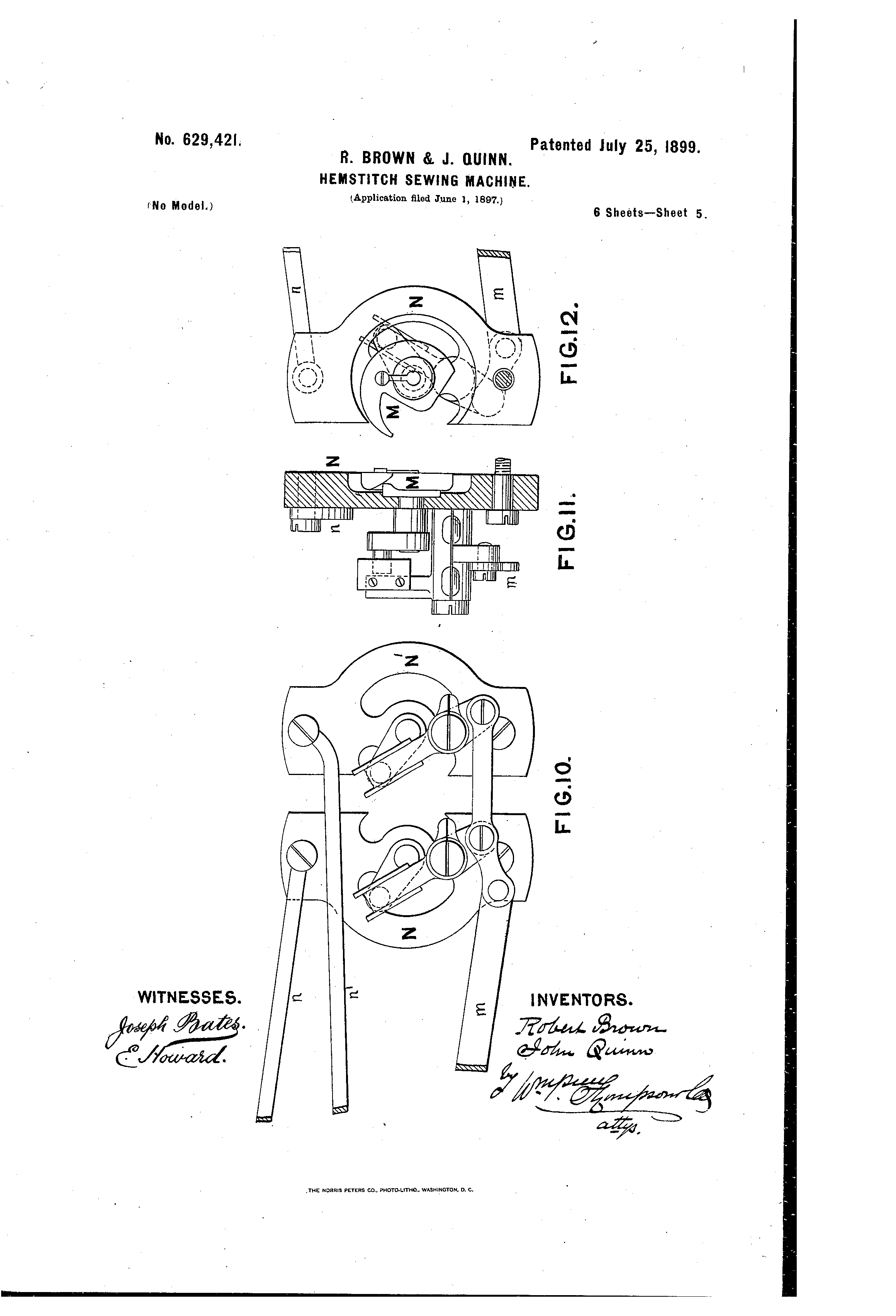 patent us629421 hemstitch sewing machine patents 1940 Ford VIN Number Location patent drawing