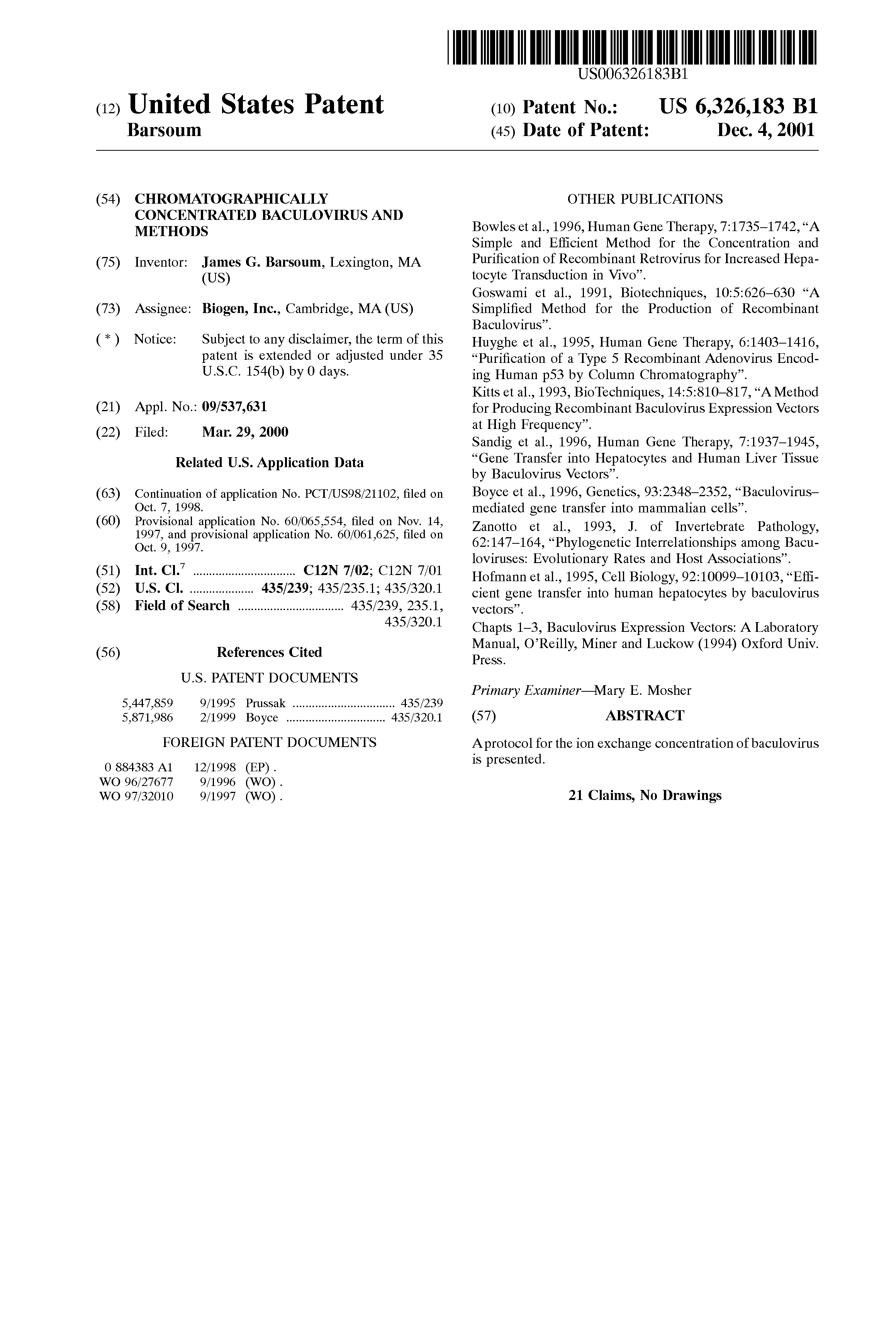 Patent US6326183 - Chromatographically concentrated