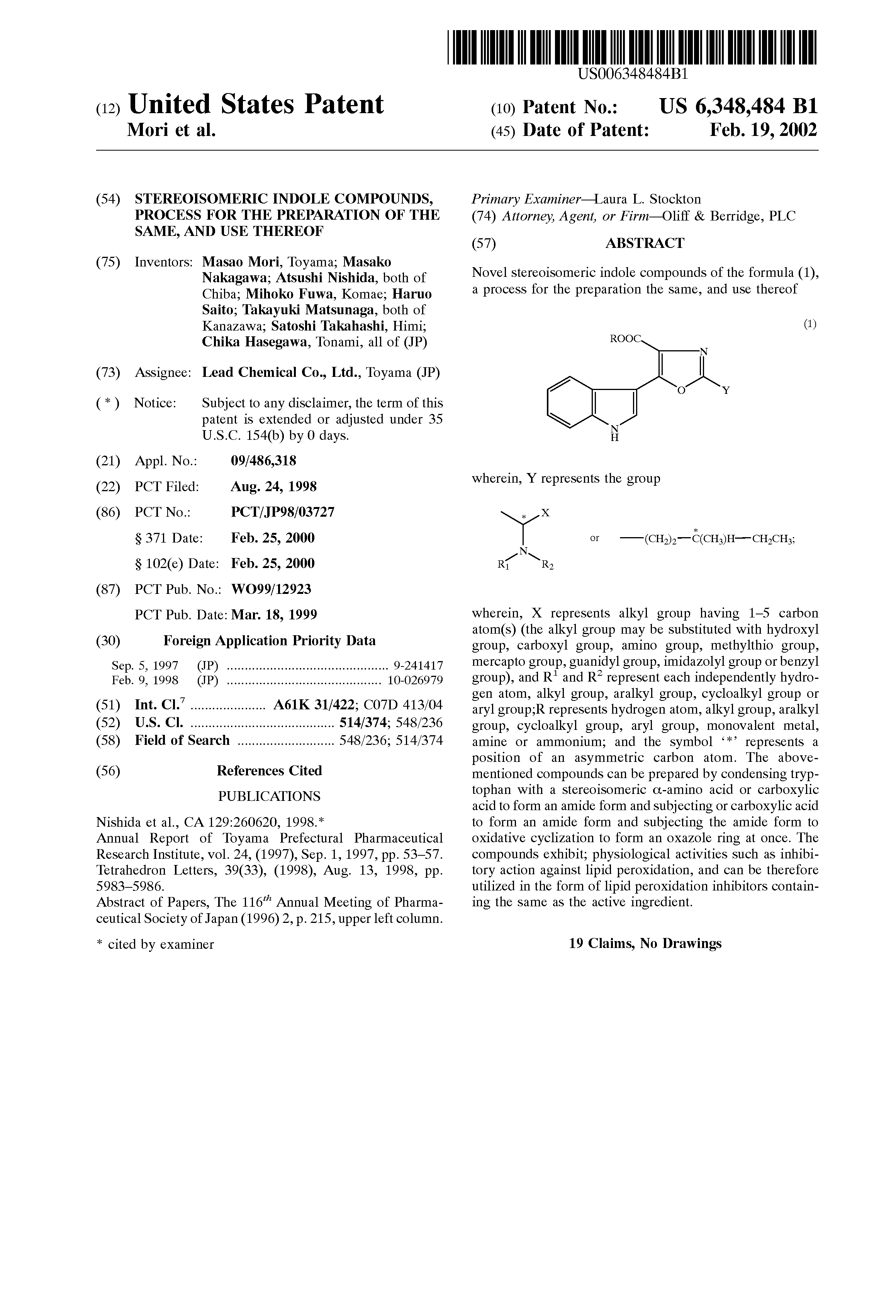 Patent US6348484 - Stereoisomeric indole compounds, process