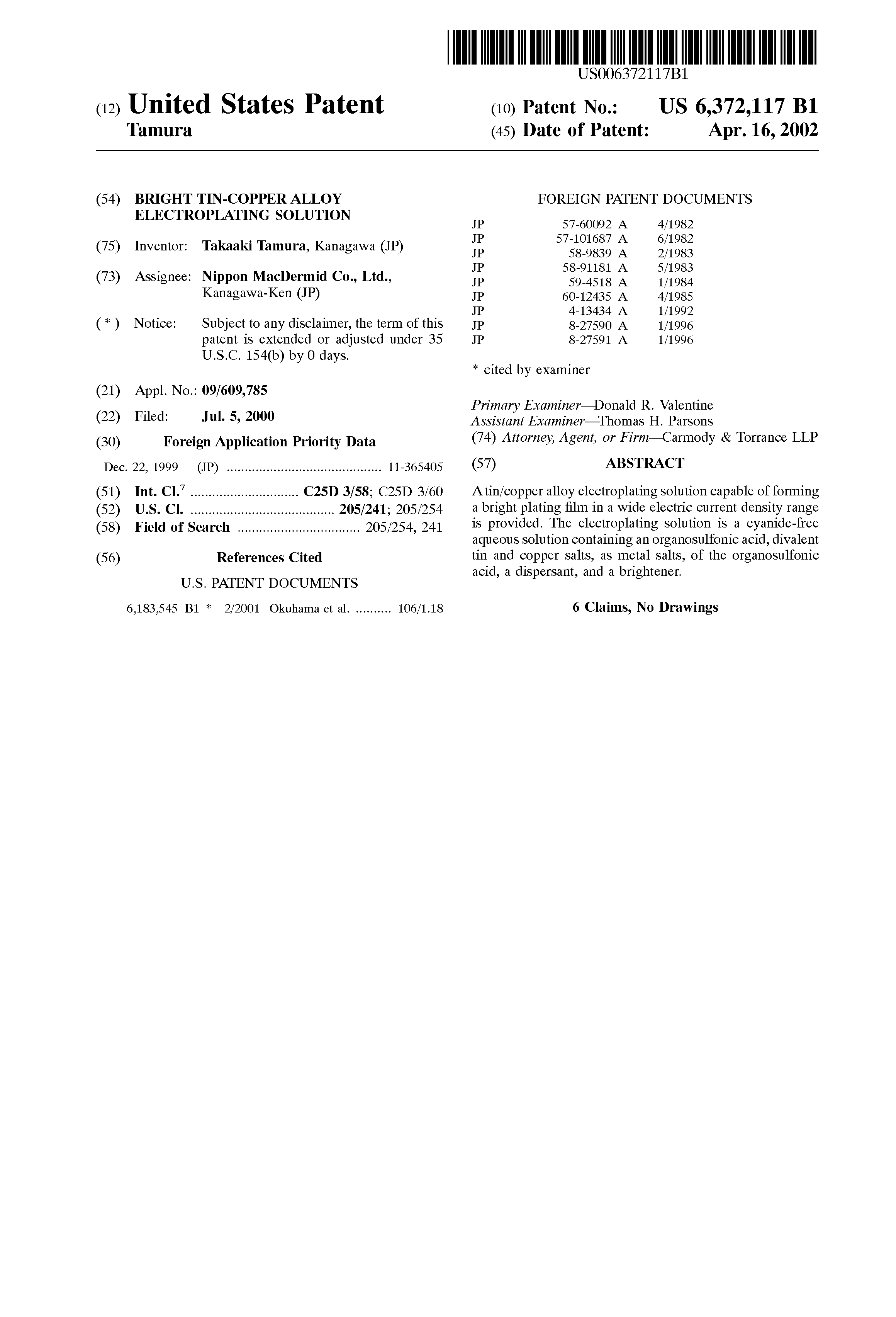 US6372117B1 - Bright tin-copper alloy electroplating