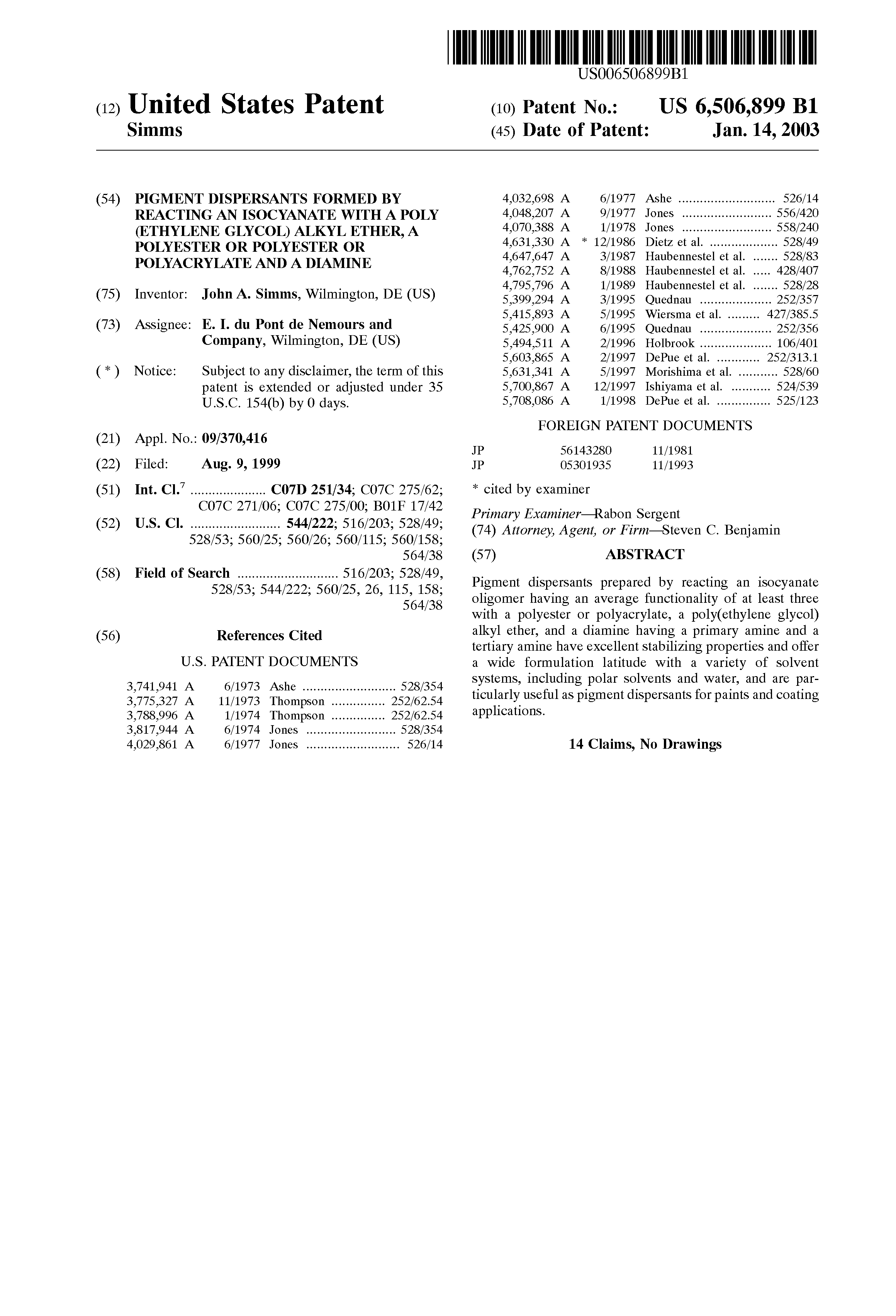 Patent US6506899 - Pigment dispersants formed by reacting an