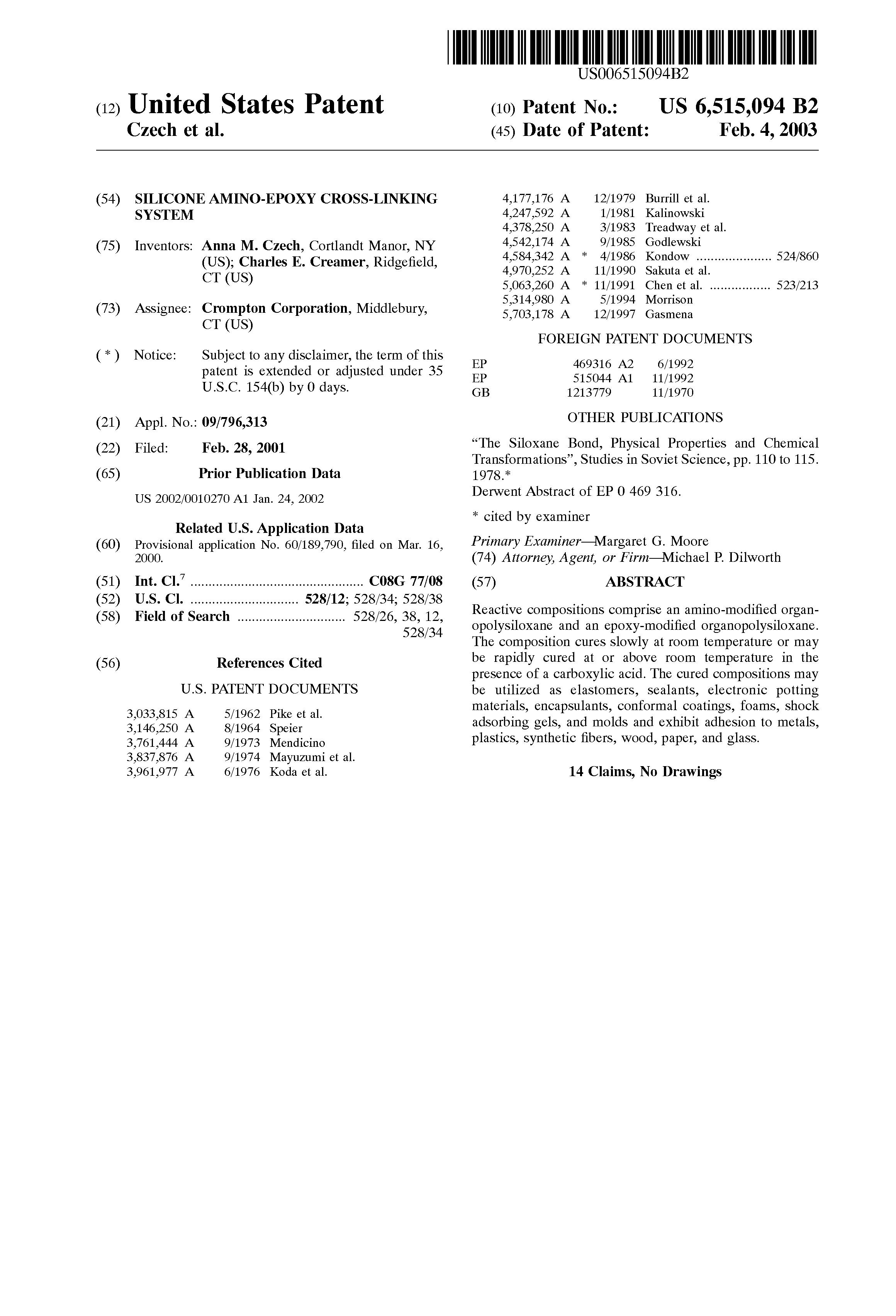 Patent US6515094 - Silicone amino-epoxy cross-linking system