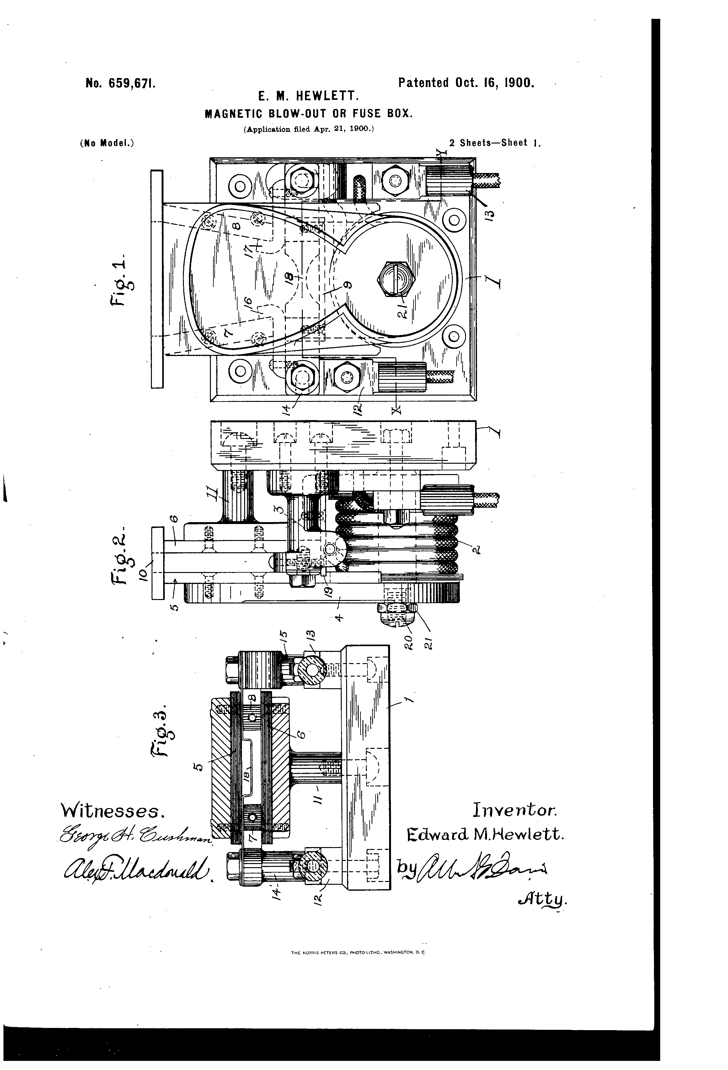Patent Us659671 Magnetic Blow Out Or Fuse Box Google Patents Edison Drawing